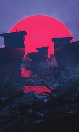 128416 скачать обои Разное, Корабли, Круг, Руины, Солнце - заставки и картинки бесплатно