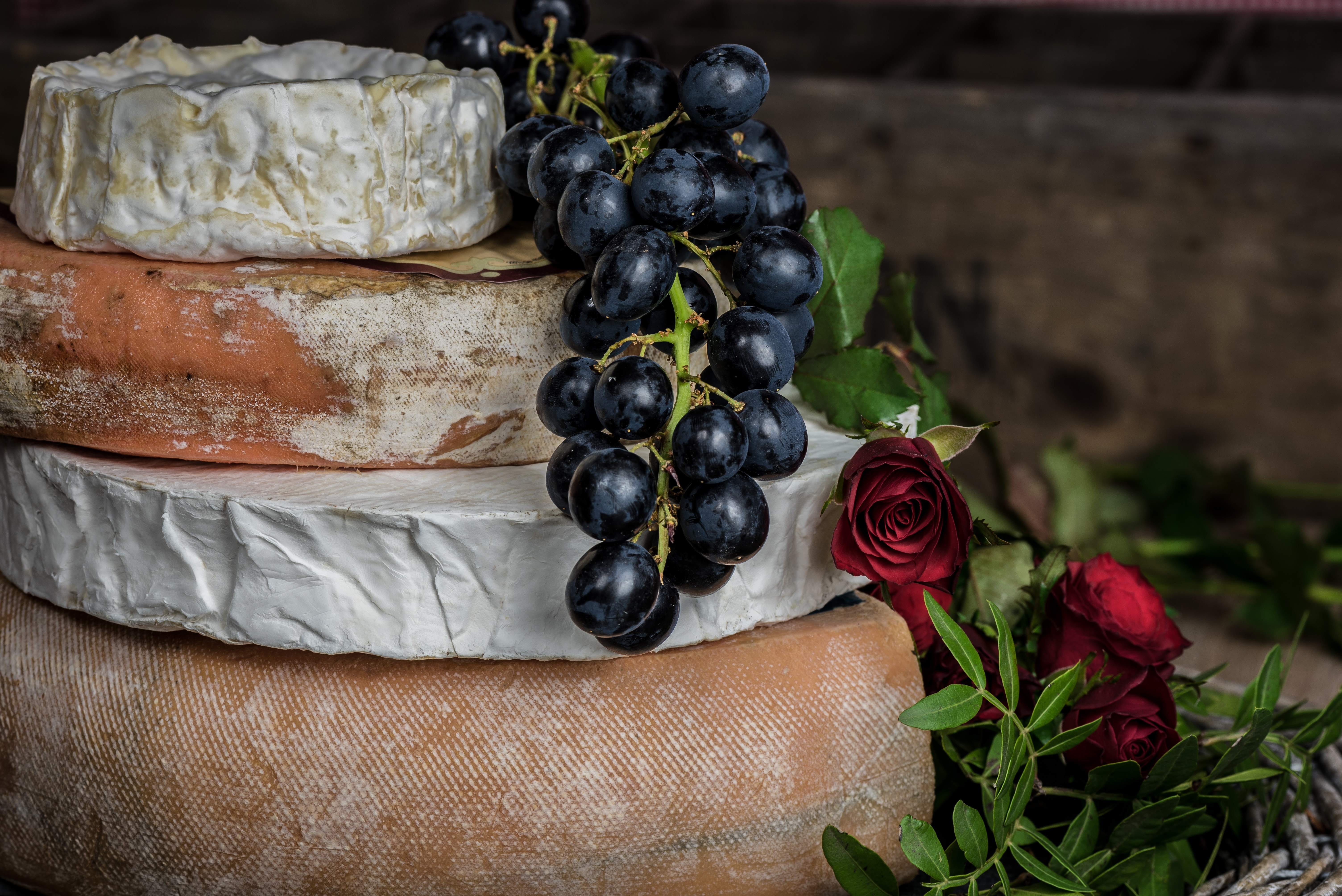 78109 download wallpaper Food, Cheese, Grapes, Rose Flower, Rose screensavers and pictures for free