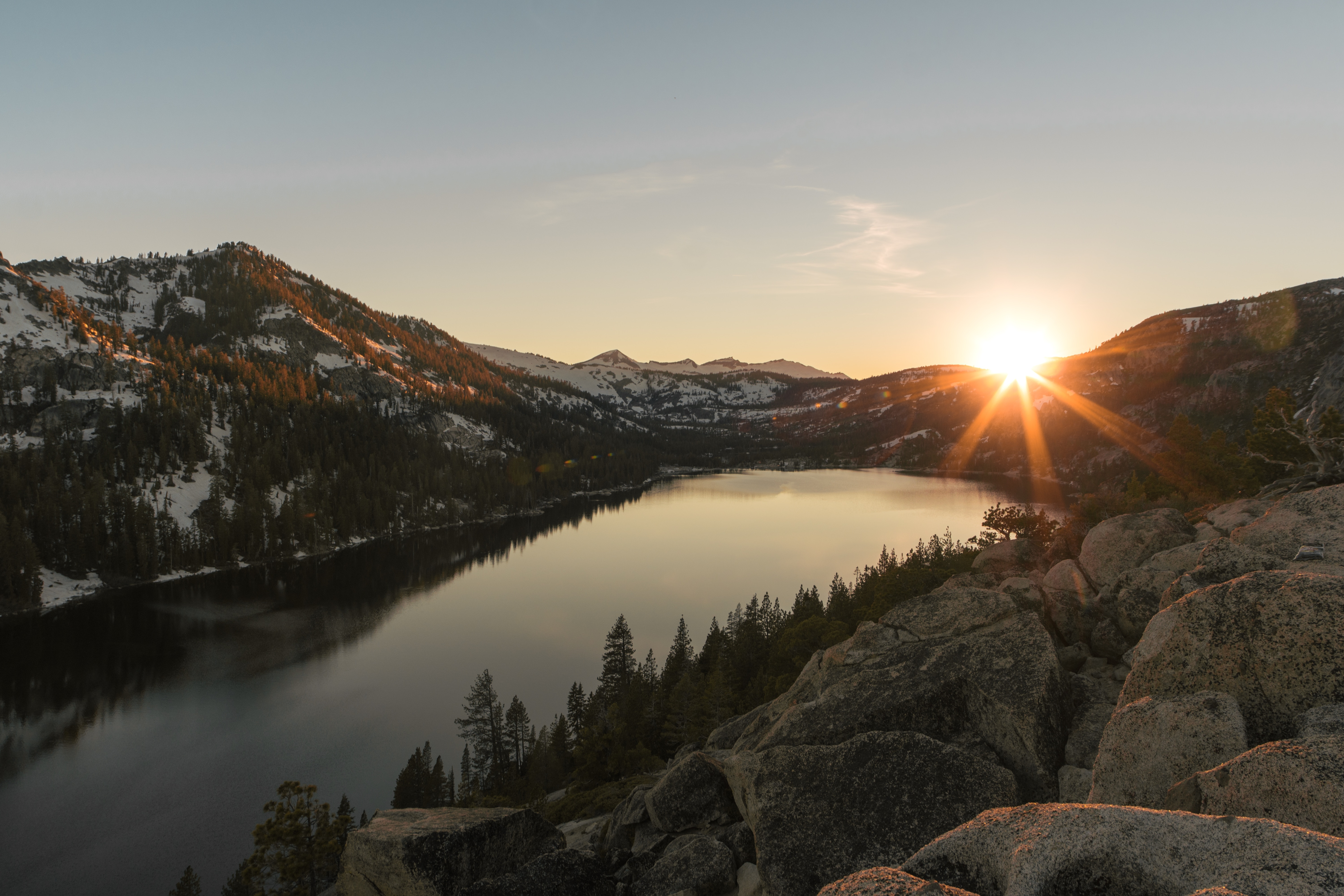 56199 download wallpaper Nature, Lake, Sunset, Stones, Mountains screensavers and pictures for free