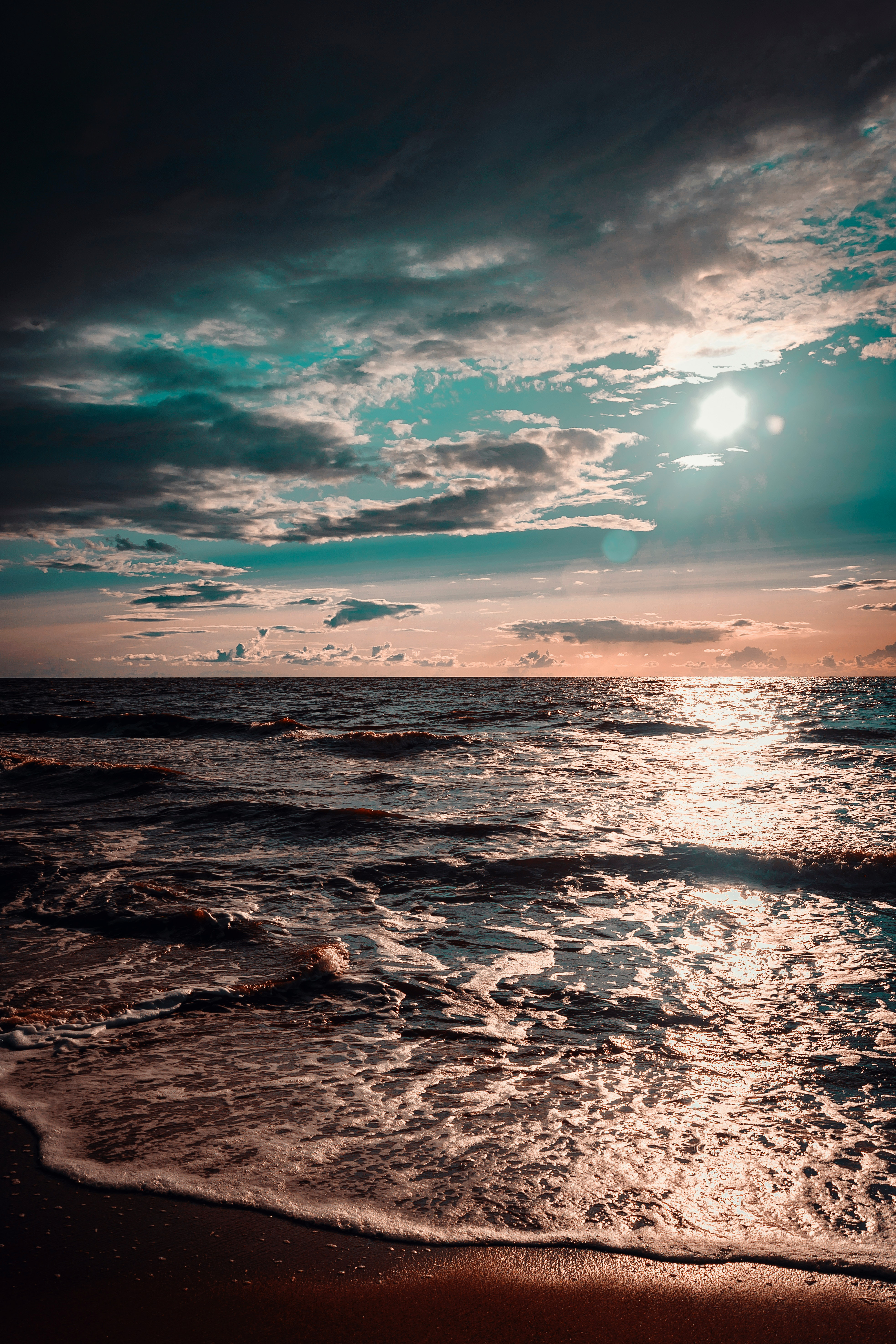 57695 download wallpaper Nature, Sea, Ocean, Surf, Sunset, Clouds screensavers and pictures for free