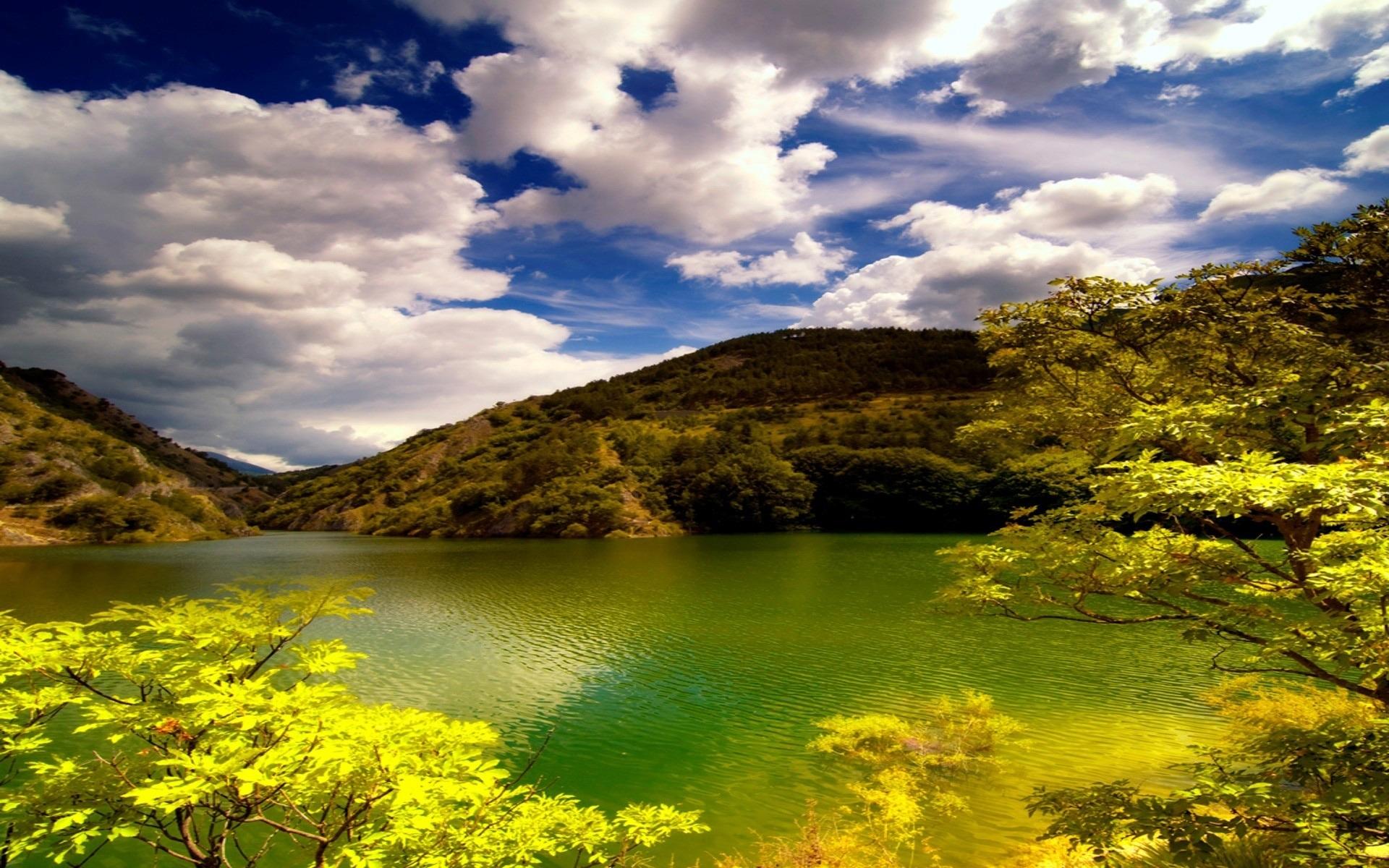 24077 скачать обои Пейзаж, Деревья, Облака, Озера - заставки и картинки бесплатно