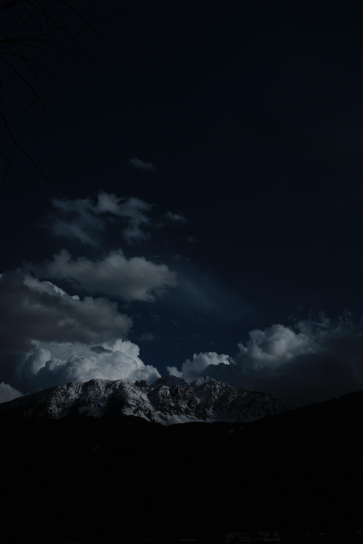 92838 скачать обои Темные, Ночь, Облака, Вершины, Горы - заставки и картинки бесплатно