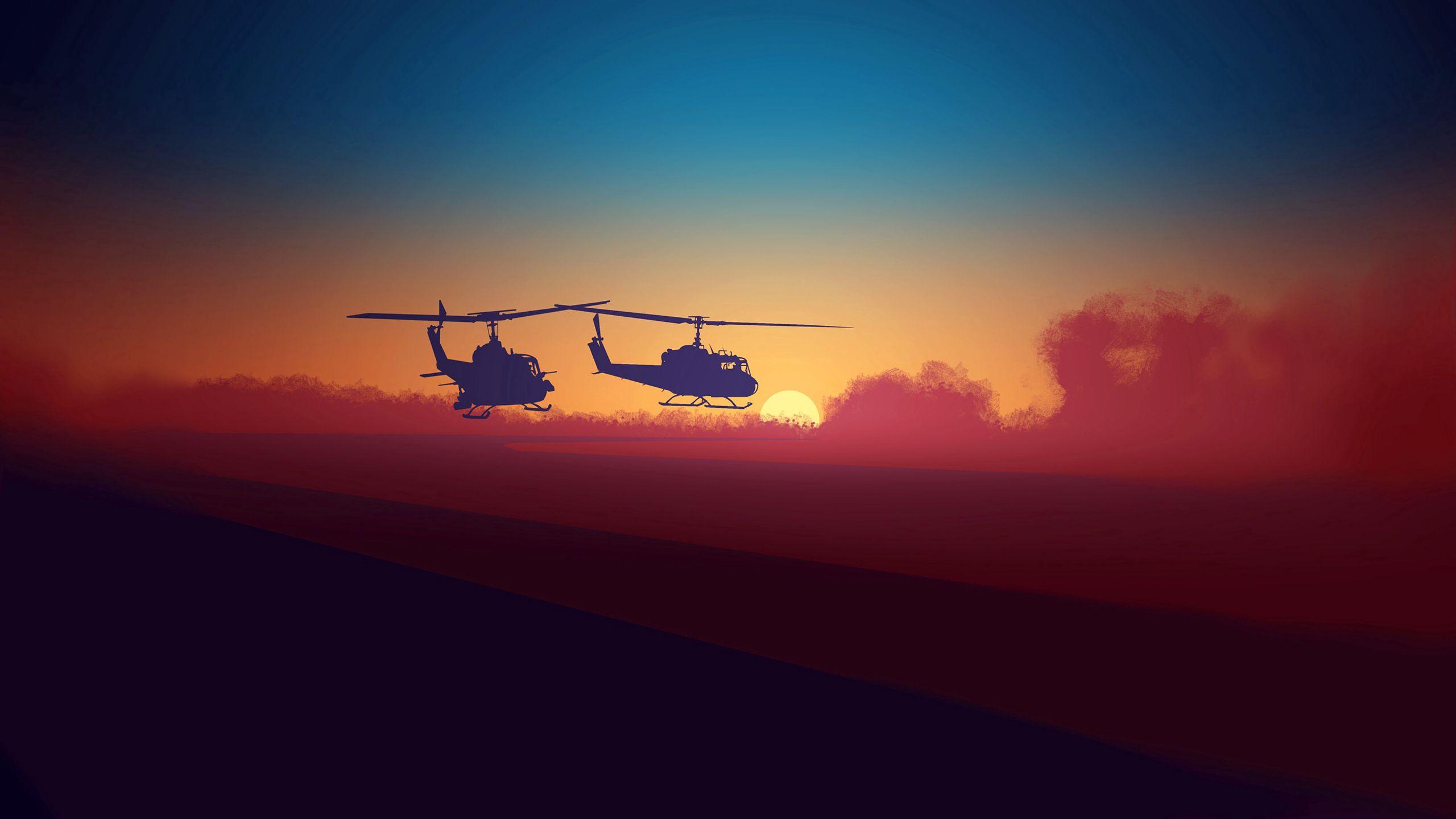 119397 Hintergrundbild herunterladen Sky, Übernachtung, Clouds, Hubschrauber, Dunkel - Bildschirmschoner und Bilder kostenlos