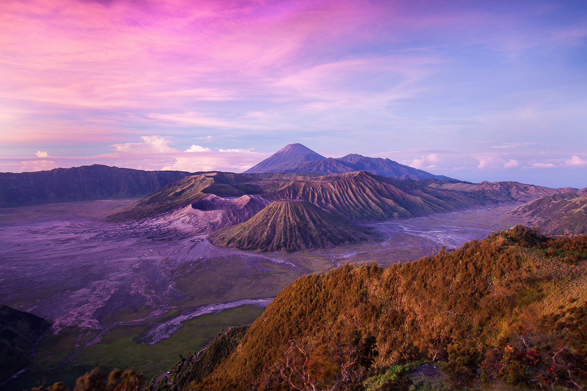 127294 Screensavers and Wallpapers Island for phone. Download Nature, Sky, Pink, Clouds, Hills, Height, Island, Volcano, Indonesia, Java, Bromo pictures for free