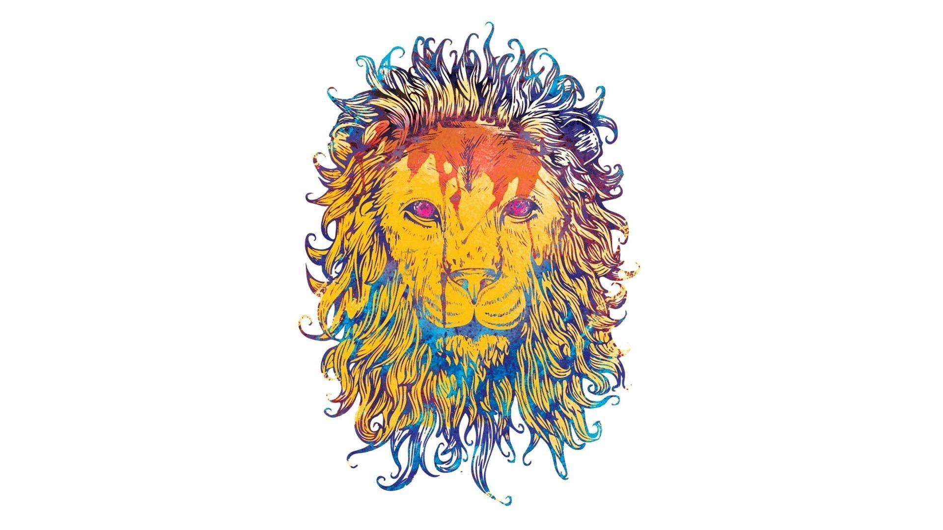 64956 Hintergrundbild herunterladen Vektor, Bild, Zeichnung, Ein Löwe, Löwe, Bunt, Bunten, König Der Bestien, König - Bildschirmschoner und Bilder kostenlos