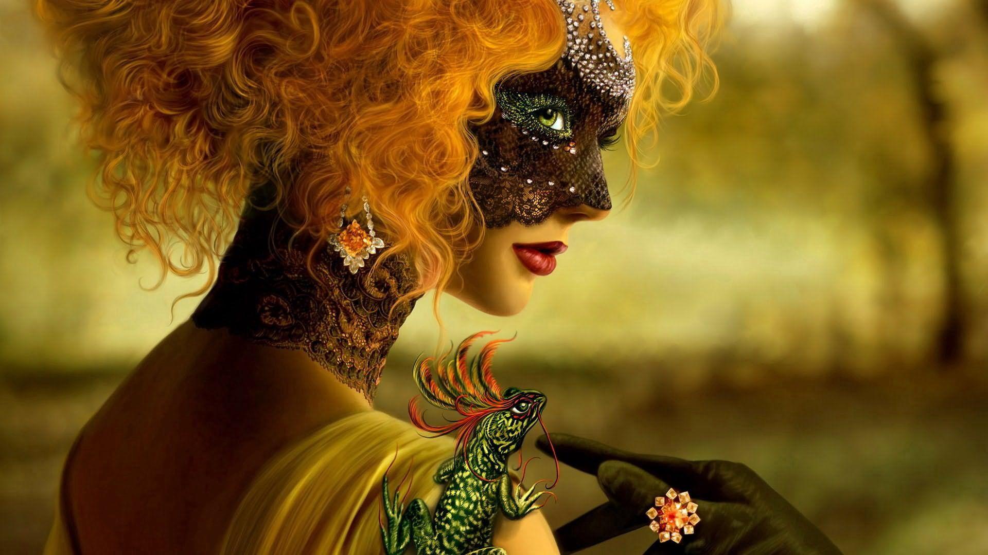 63822 Hintergrundbild herunterladen Fantasie, Mädchen, Maske, Bilden, Maskerade, Make-Up - Bildschirmschoner und Bilder kostenlos