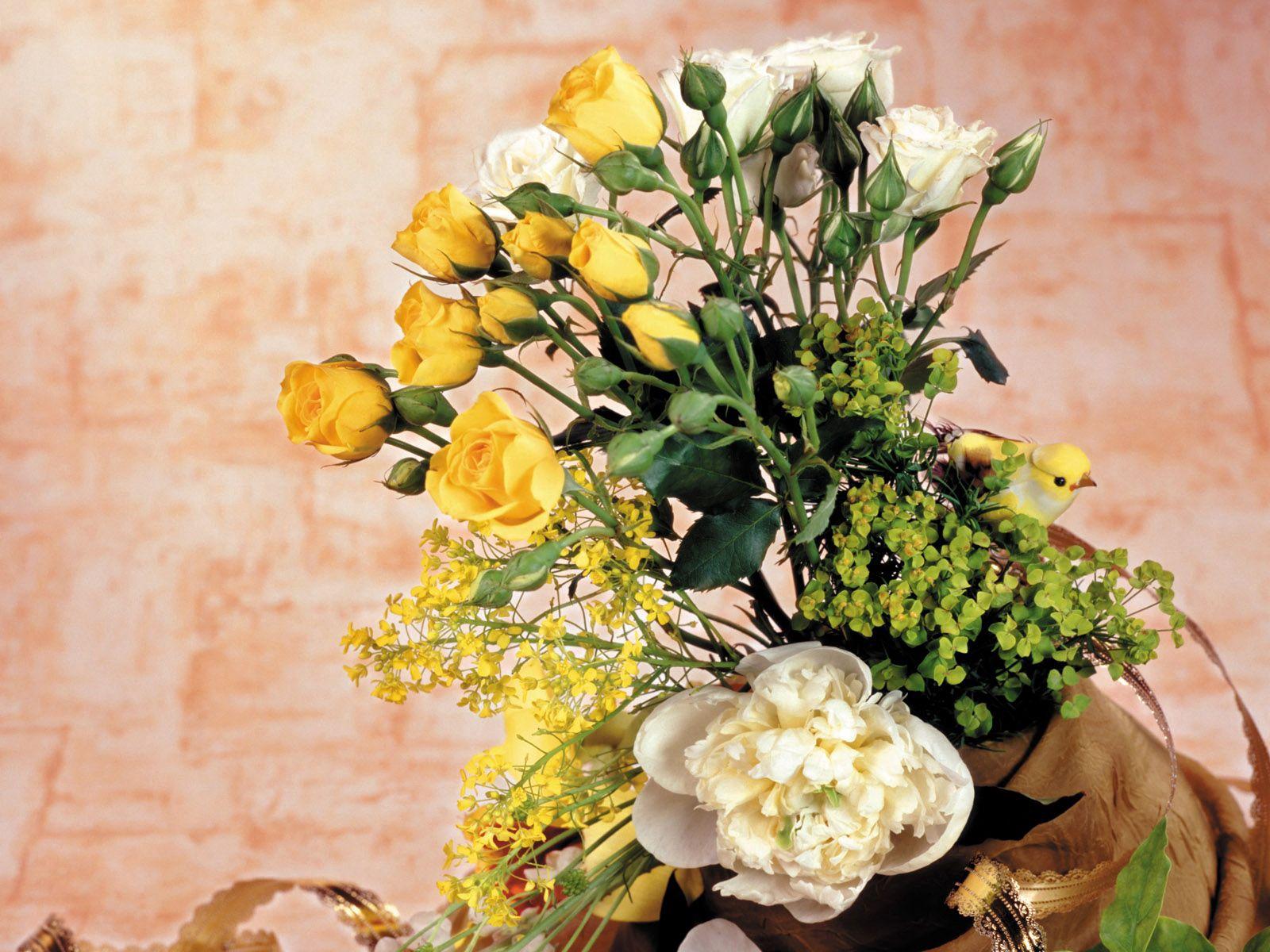 105990 скачать обои Цветы, Ваза, Искусство, Розы, Пионы - заставки и картинки бесплатно