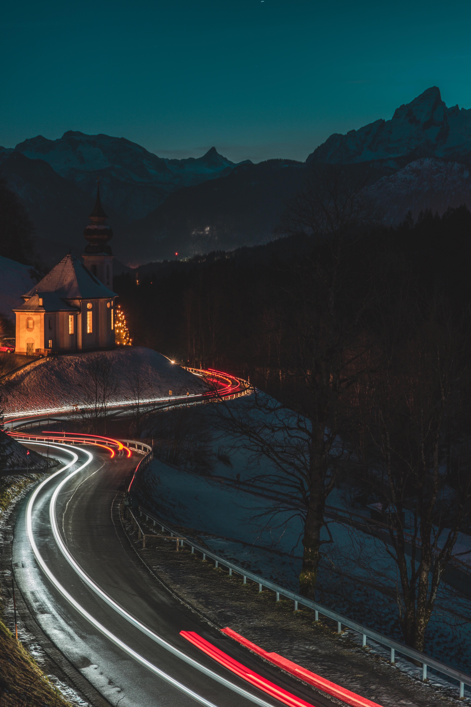 119690 免費下載壁紙 黑暗的, 黑暗, 寺庙, 神殿, 建造, 建筑, 路, 长期接触, 长曝光, 氖, 尼翁 屏保和圖片