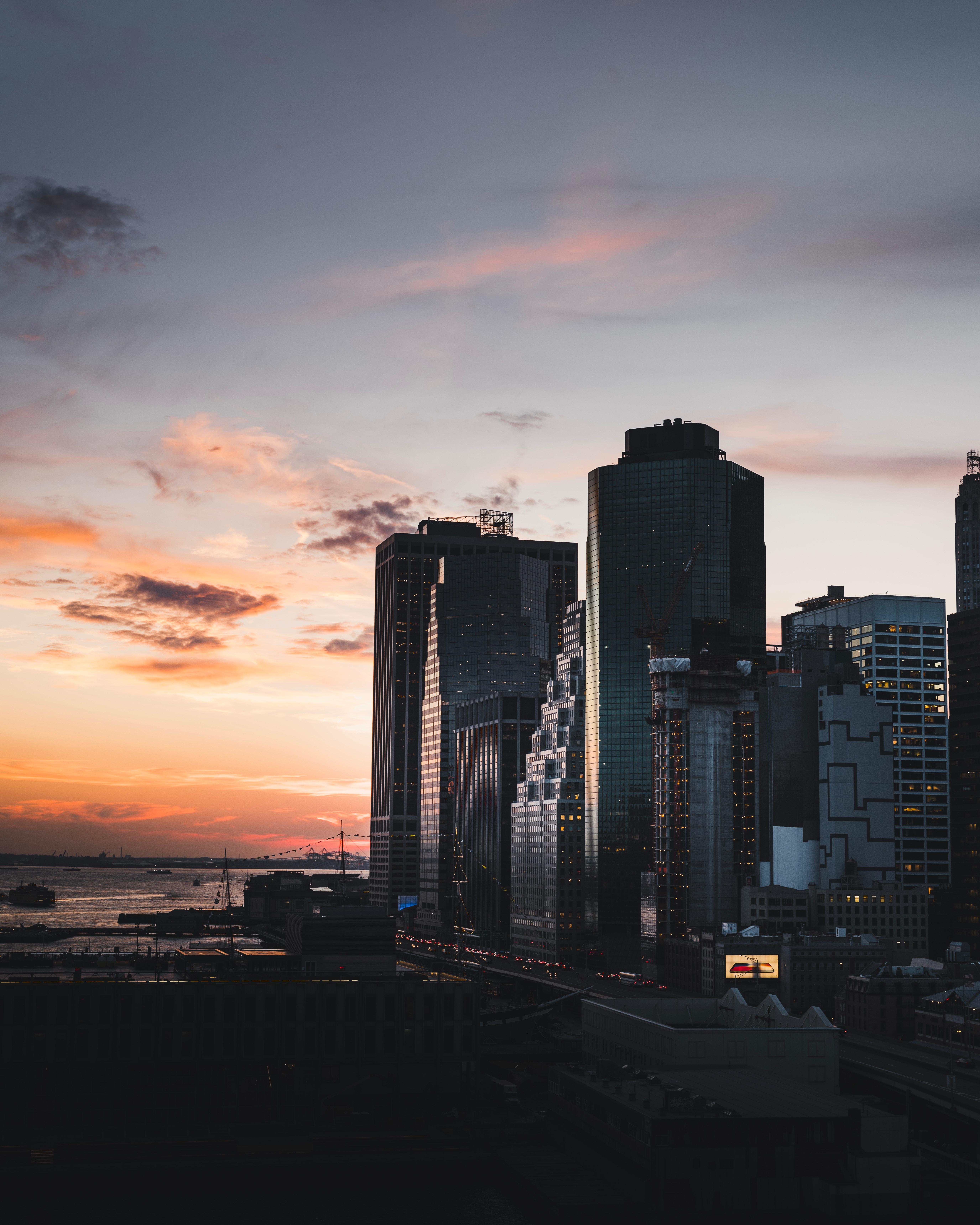 65729 Hintergrundbild 480x800 kostenlos auf deinem Handy, lade Bilder Städte, Usa, Gebäude, Abend, New York, Manhattan 480x800 auf dein Handy herunter