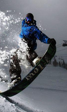 97805 descargar fondo de pantalla Deportes, Tabla De Snowboard, Snowboard, Noche, Nieve, Brillar, Luz, Truco: protectores de pantalla e imágenes gratis