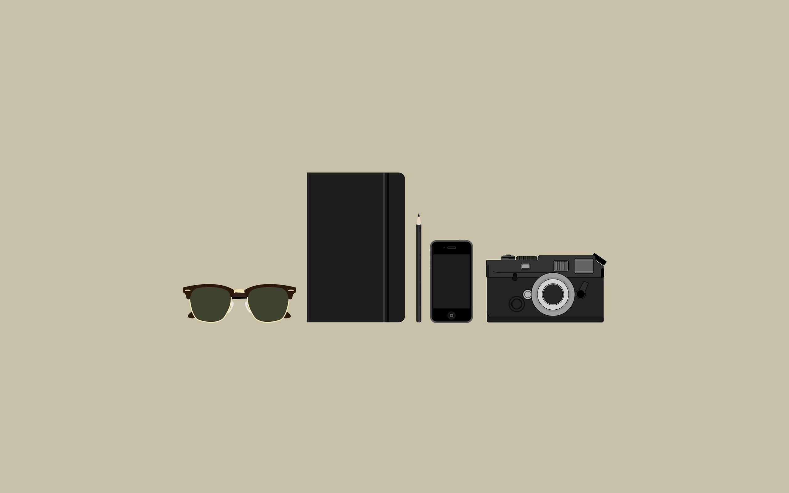 136212 download wallpaper Minimalism, Items, Camera, Glasses, Spectacles, Purse, Telephone screensavers and pictures for free