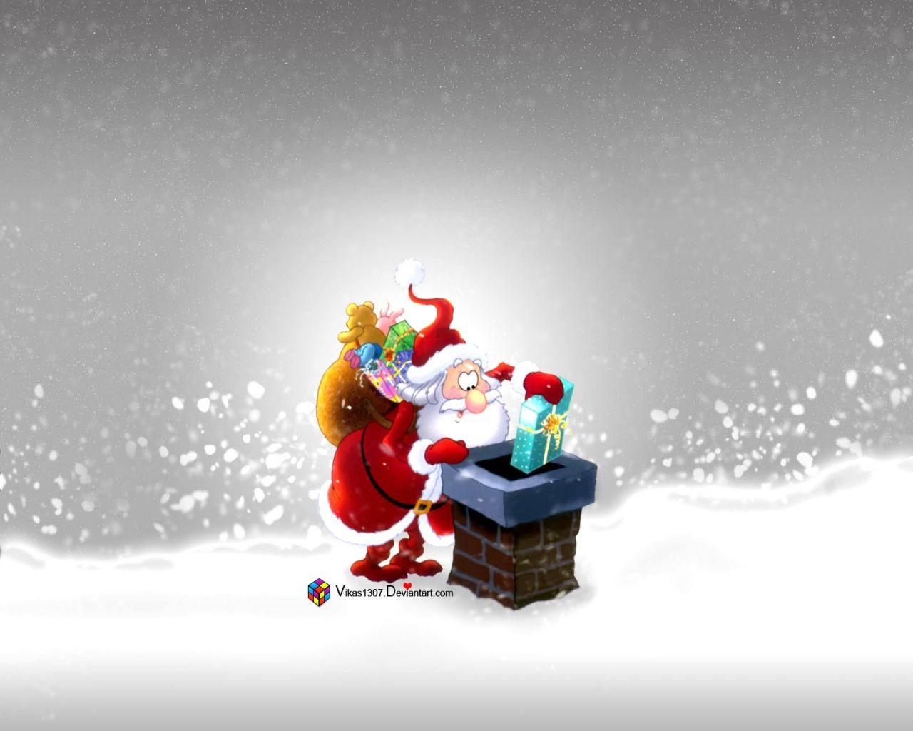 154214 Hintergrundbild herunterladen Weihnachten, Feiertage, Neujahr, Väterchen Frost, Neues Jahr, Vorhanden, Geschenk, Trompete, Rohr, Dach - Bildschirmschoner und Bilder kostenlos