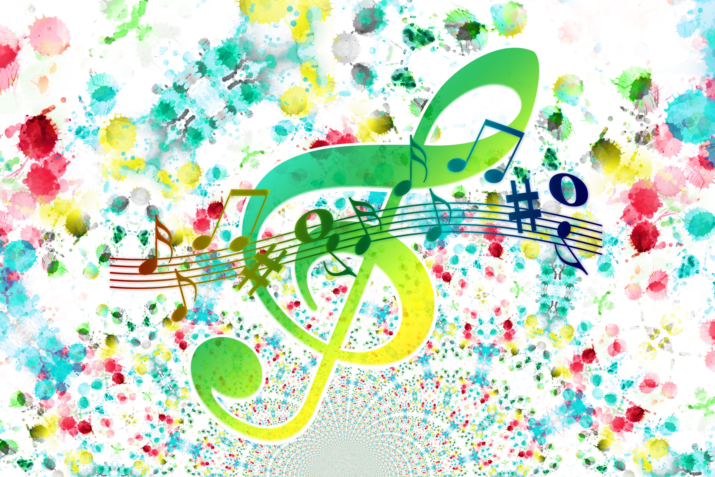 52482 Hintergrundbild herunterladen Musik, Kunst, Mehrfarbig, Motley, Anmerkungen, Violinschlüssel, Dreifacher Schlüssel - Bildschirmschoner und Bilder kostenlos
