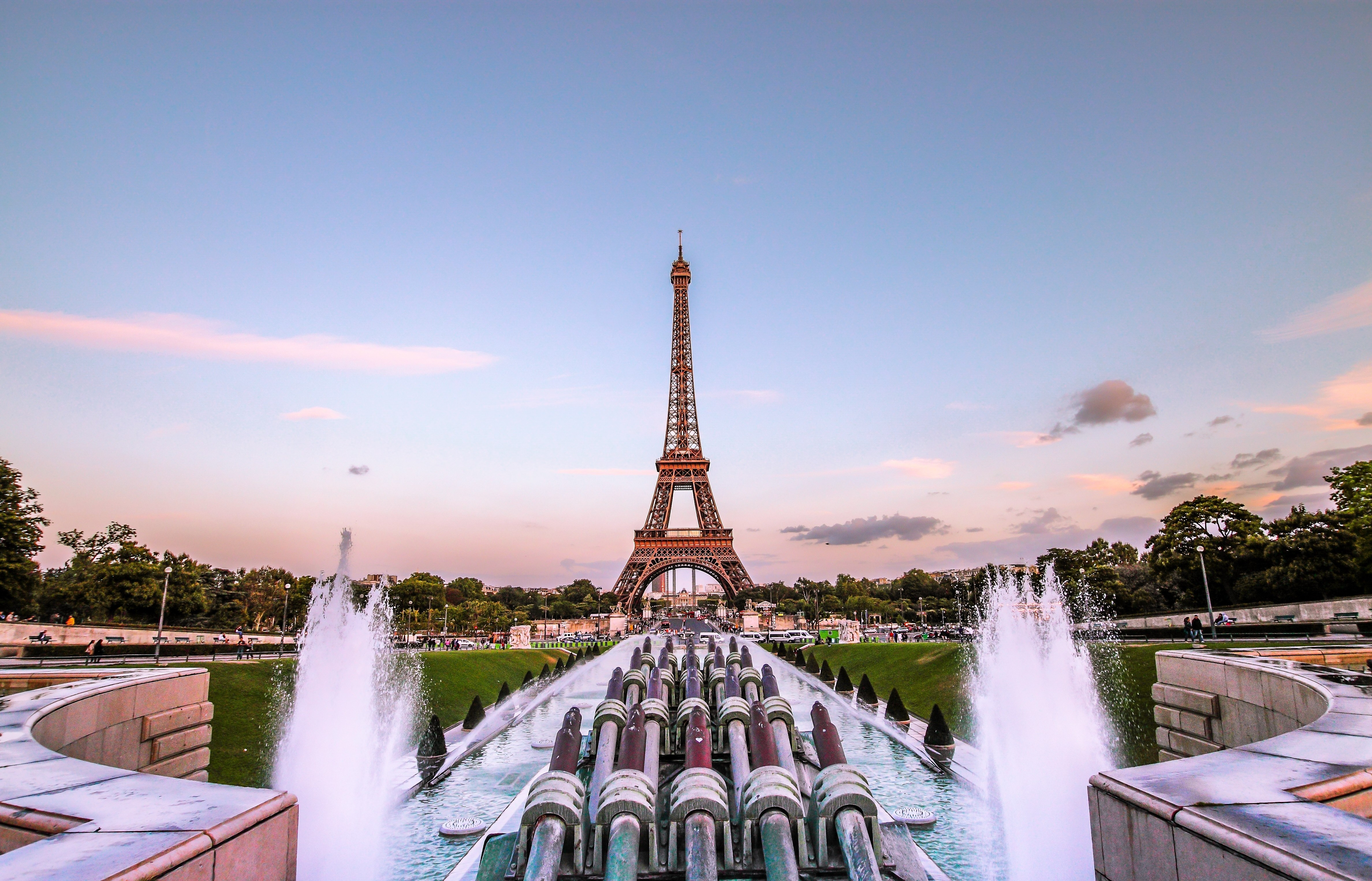 56954 télécharger le fond d'écran Paris, Soirée Dorée, France, Fontaine, Villes, Tour Eiffel - économiseurs d'écran et images gratuitement
