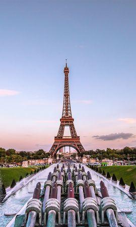 56954 baixar papel de parede Paris, Noite Dourada, Noite De Ouro, França, Fonte, Cidades, Torre Eiffel - protetores de tela e imagens gratuitamente