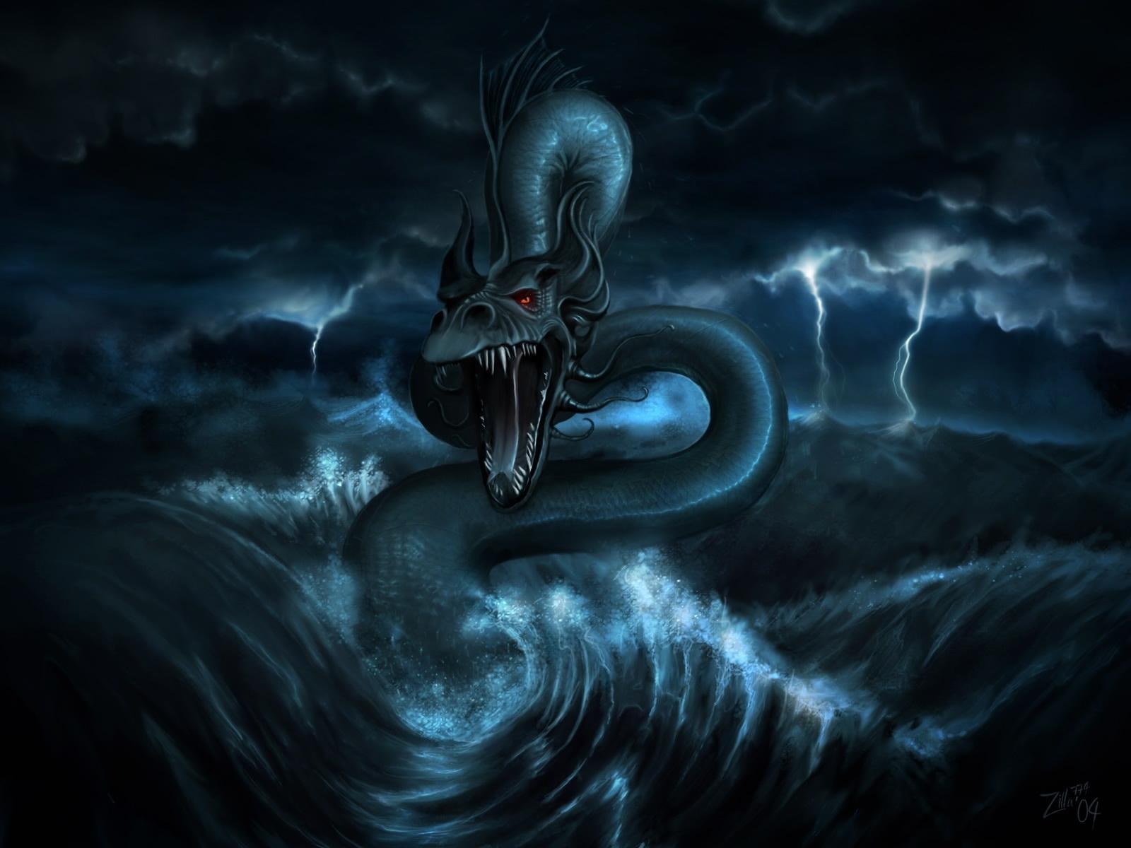 3206 Hintergrundbild herunterladen Wasser, Fantasie, Kunst, Dragons, Sea, Bilder - Bildschirmschoner und Bilder kostenlos