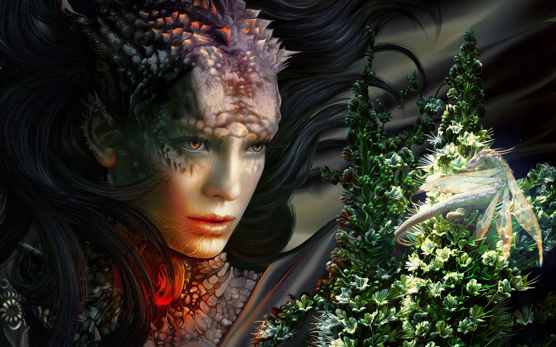 137087 download wallpaper Fantasy, Girl, Sight, Opinion, Dragon, Monster screensavers and pictures for free