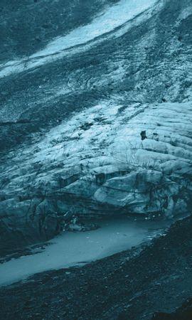 153462 скачать обои Природа, Ледник, Вид Сверху, Лед, Серый, Пейзаж - заставки и картинки бесплатно