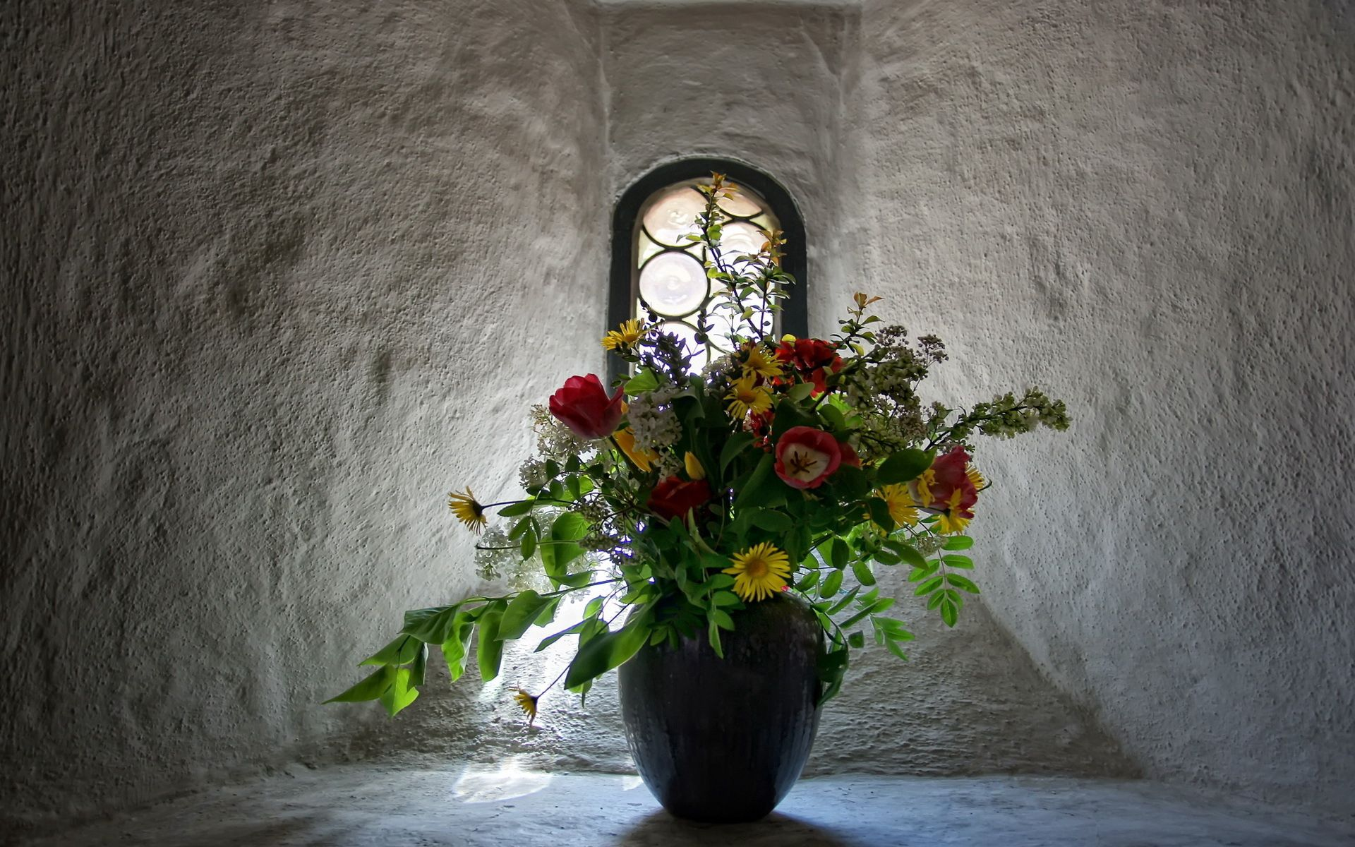 76114 download wallpaper Flowers, Tulips, Walls, Bouquet, Window, Vase screensavers and pictures for free