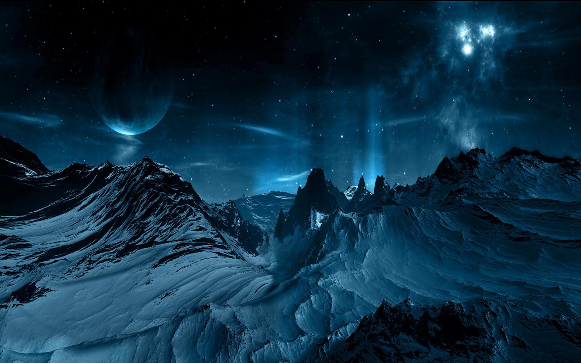 31332 скачать Синие обои на телефон бесплатно, Пейзаж, Планеты, Космос, Горы Синие картинки и заставки на мобильный