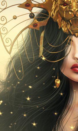 132928 baixar papel de parede Menina, Garota, Mascarar, Máscara, Um Leão, Leão, Maquiagem, Arte, Fantasia - protetores de tela e imagens gratuitamente