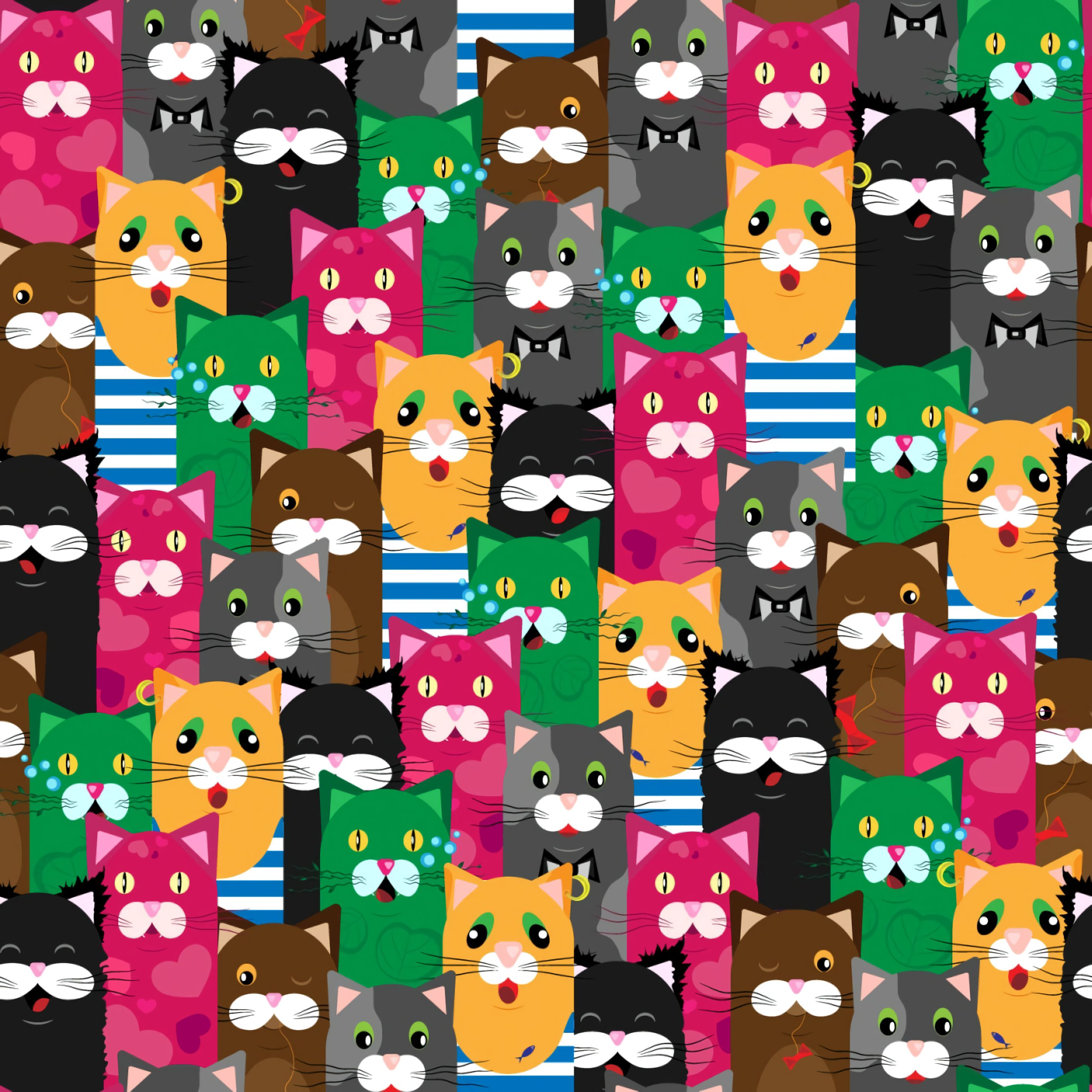 104096 Screensavers and Wallpapers Cats for phone. Download Textures, Texture, Cats, Funny, Multicolored, Motley, Pattern pictures for free