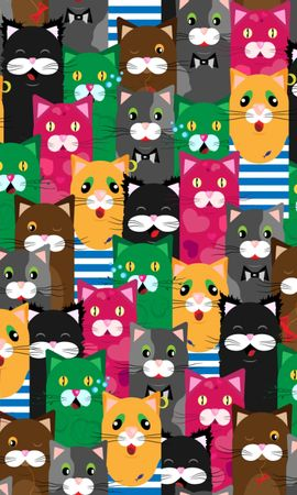 104096 Screensavers and Wallpapers Funny for phone. Download Textures, Texture, Cats, Funny, Multicolored, Motley, Pattern pictures for free