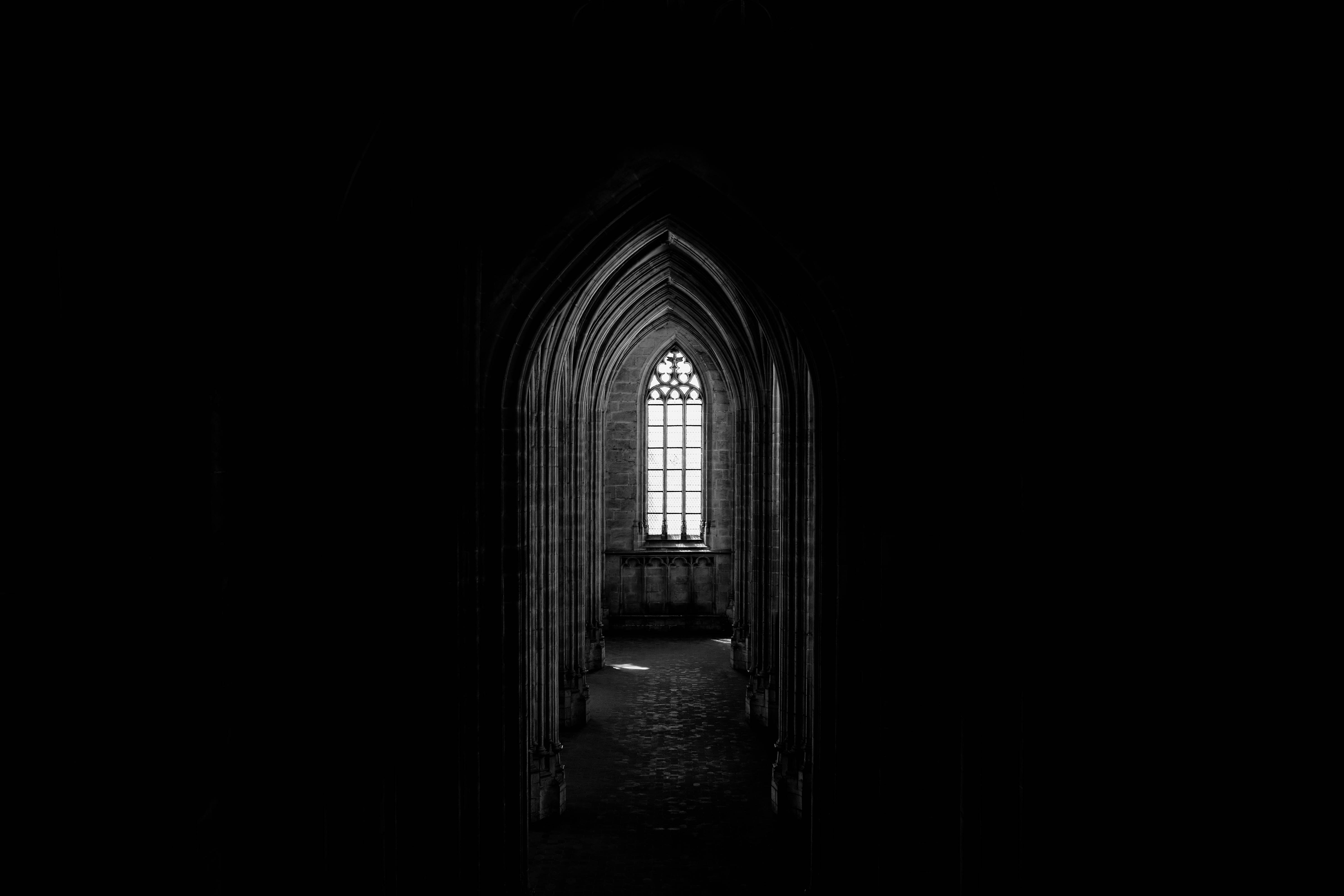 135130 download wallpaper Corridor, Dark, Window, Arch, Architecture screensavers and pictures for free