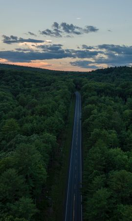 139295 скачать обои Природа, Дорога, Вид Сверху, Леса, Горизонт, Закат - заставки и картинки бесплатно