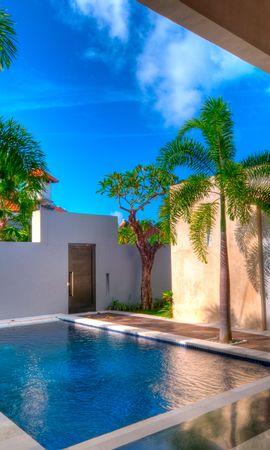 14374 скачать обои Пейзаж, Вода, Дома, Пальмы - заставки и картинки бесплатно