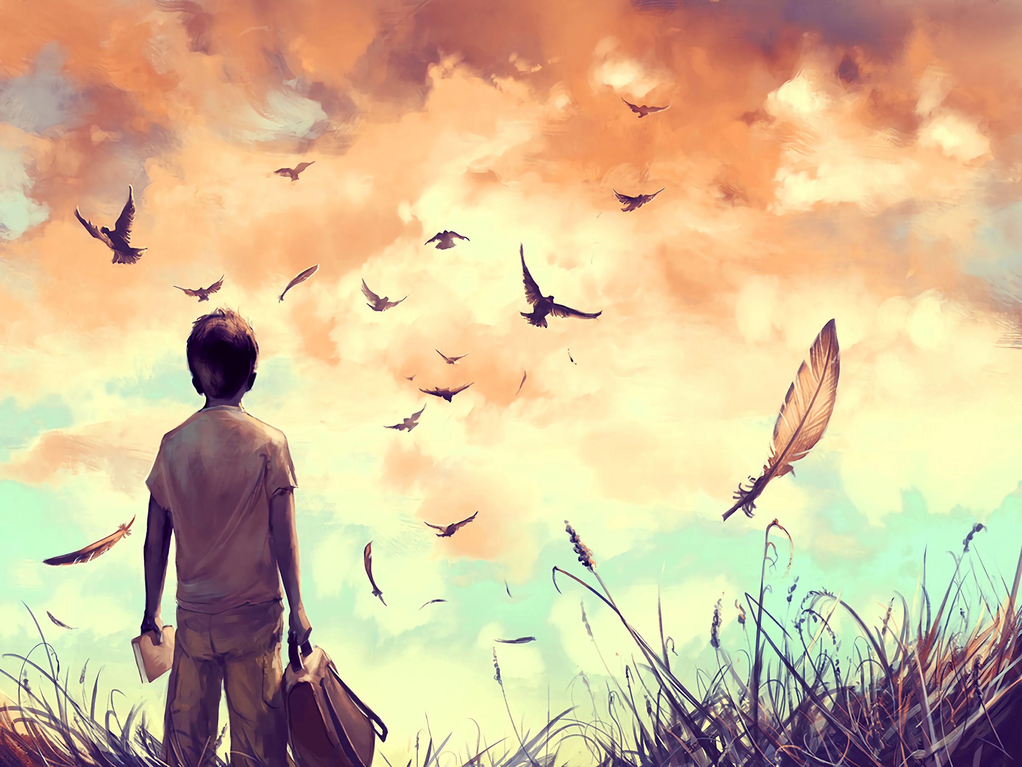 96878 Hintergrundbild herunterladen Vögel, Kunst, Feder, Junge, Buch, Rucksack, Freiheit - Bildschirmschoner und Bilder kostenlos