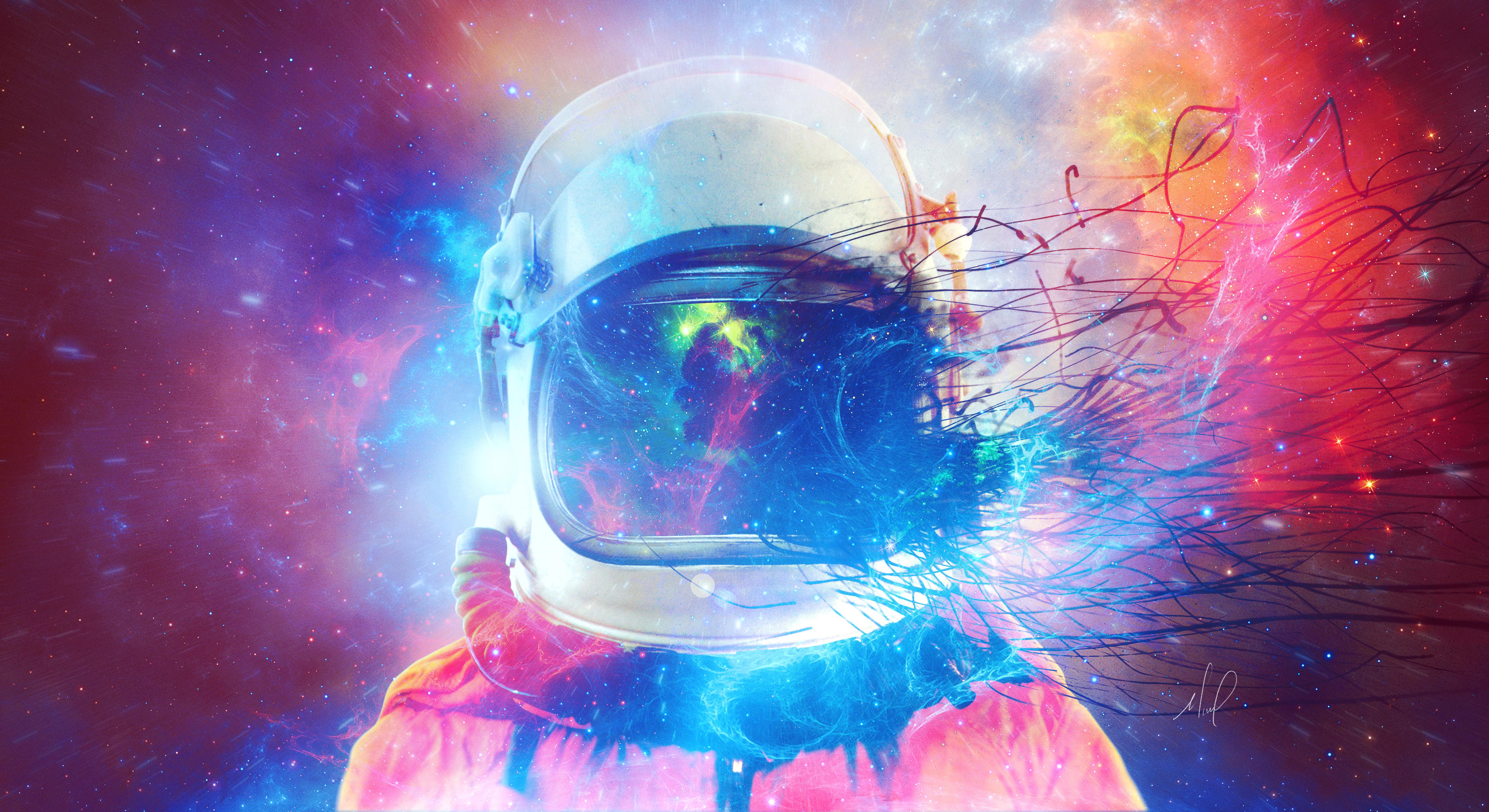 136135 Hintergrundbild herunterladen Universum, Mehrfarbig, Motley, Platz, Kosmischen, Kosmonaut, Kosmonauten, Raumanzug - Bildschirmschoner und Bilder kostenlos