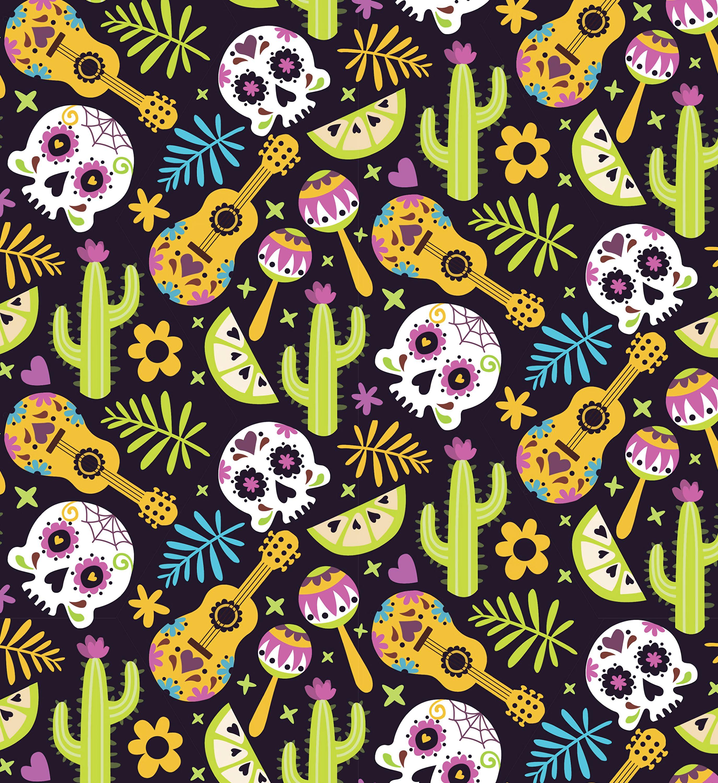 151612 скачать обои Гитары, Кактусы, Узоры, Текстура, Текстуры, Паттерн, Черепа, Мексика - заставки и картинки бесплатно