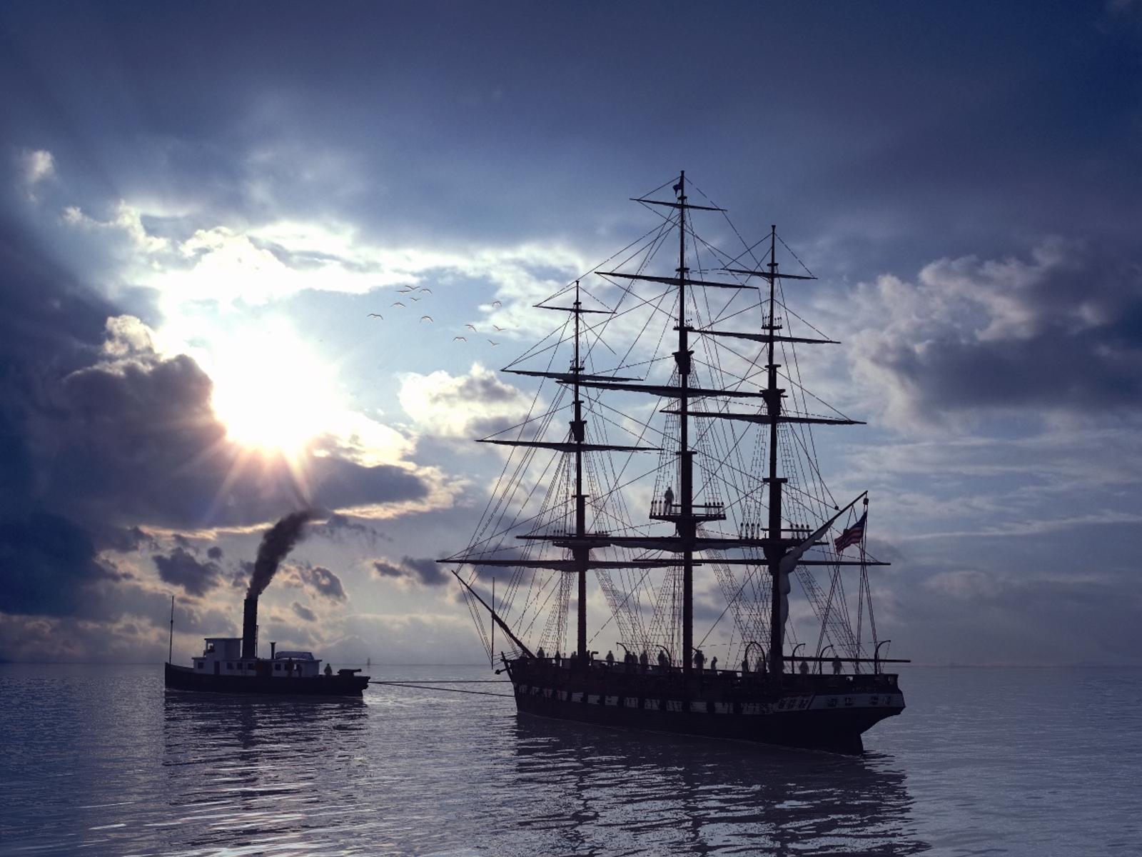 4463 скачать обои Транспорт, Вода, Небо, Корабли, Море, Солнце - заставки и картинки бесплатно