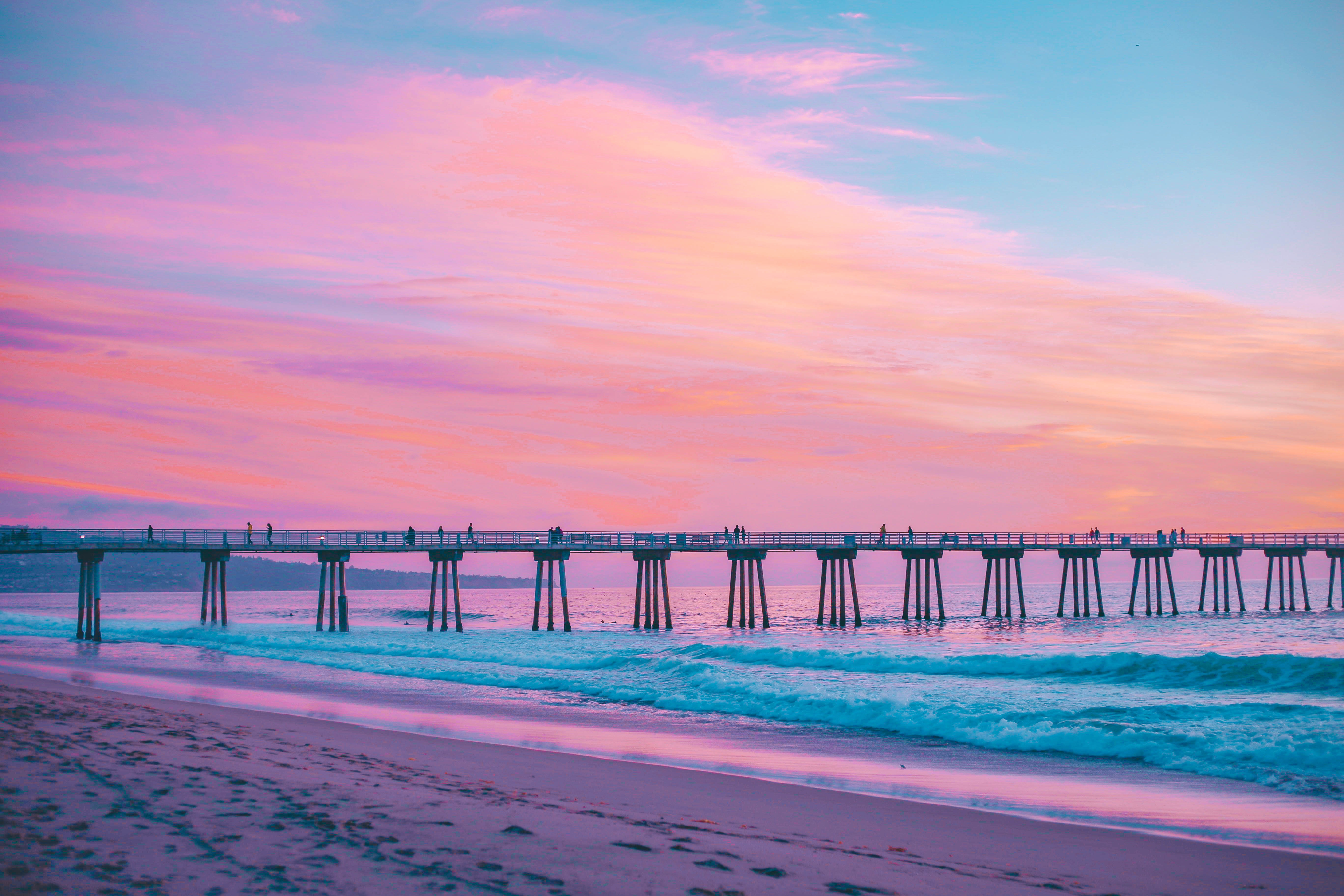 66586 download wallpaper Nature, Sea, Pink, Pier, Surf, California, Hermosa Beach, Hermosa Scourge screensavers and pictures for free