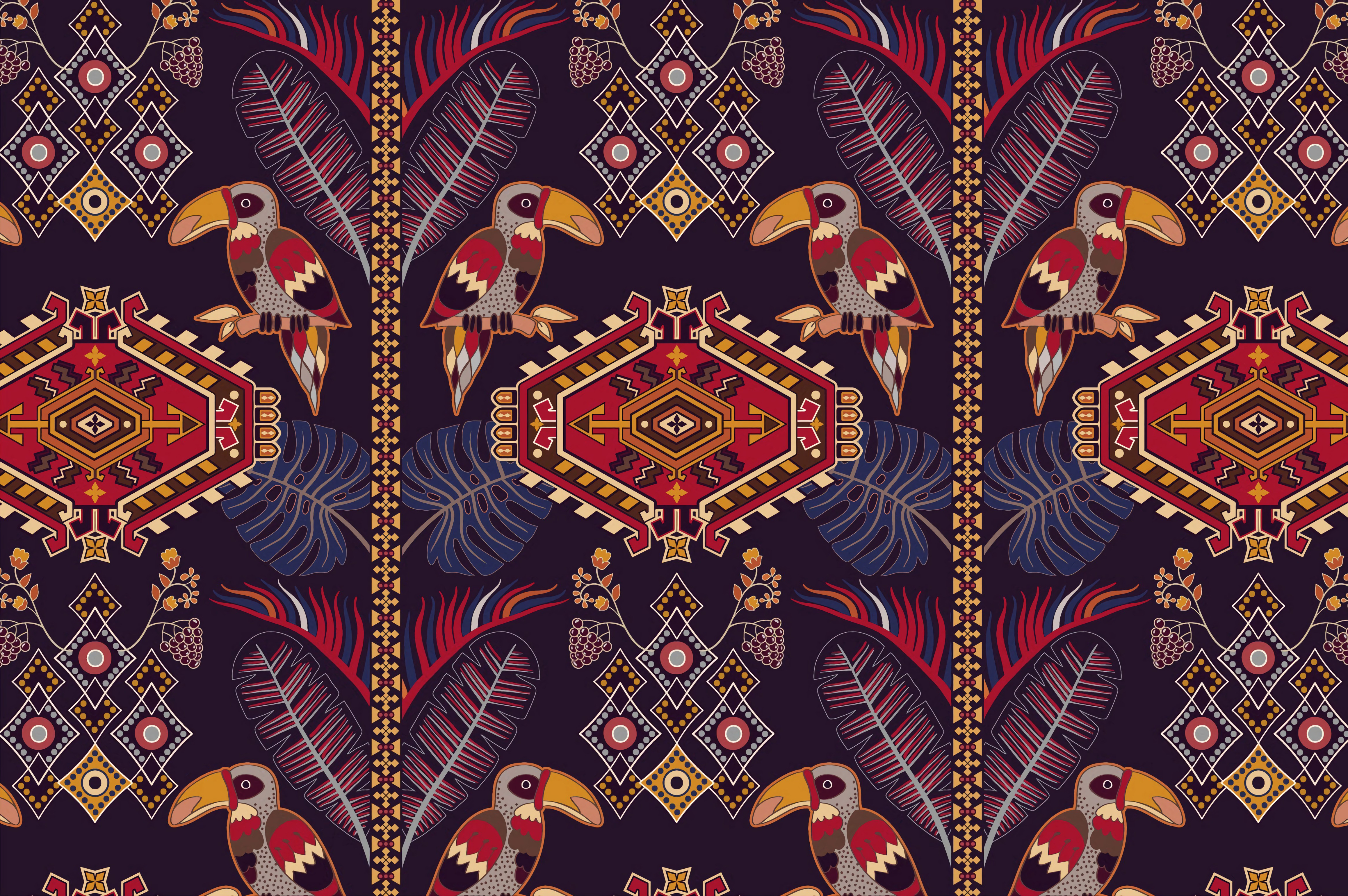 89457 download wallpaper Textures, Texture, Pattern, Ornament, Motive, Multicolored, Motley, Toucans screensavers and pictures for free