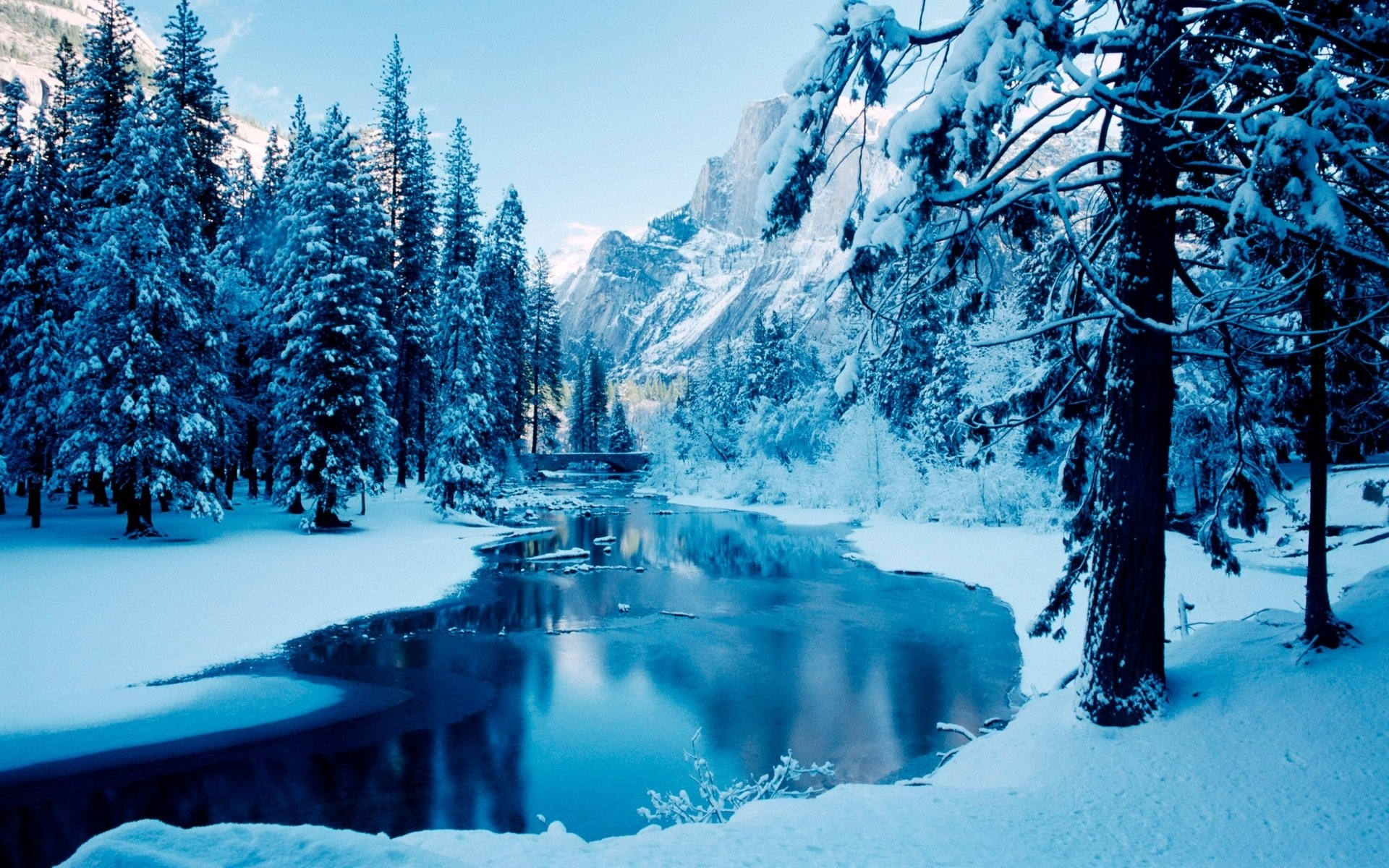 27018 download wallpaper Landscape, Winter, Rivers, Trees, Mountains, Snow screensavers and pictures for free