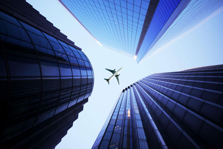 65337 скачать обои Архитектура, Небо, Здания, Разное, Небоскребы, Самолет - заставки и картинки бесплатно