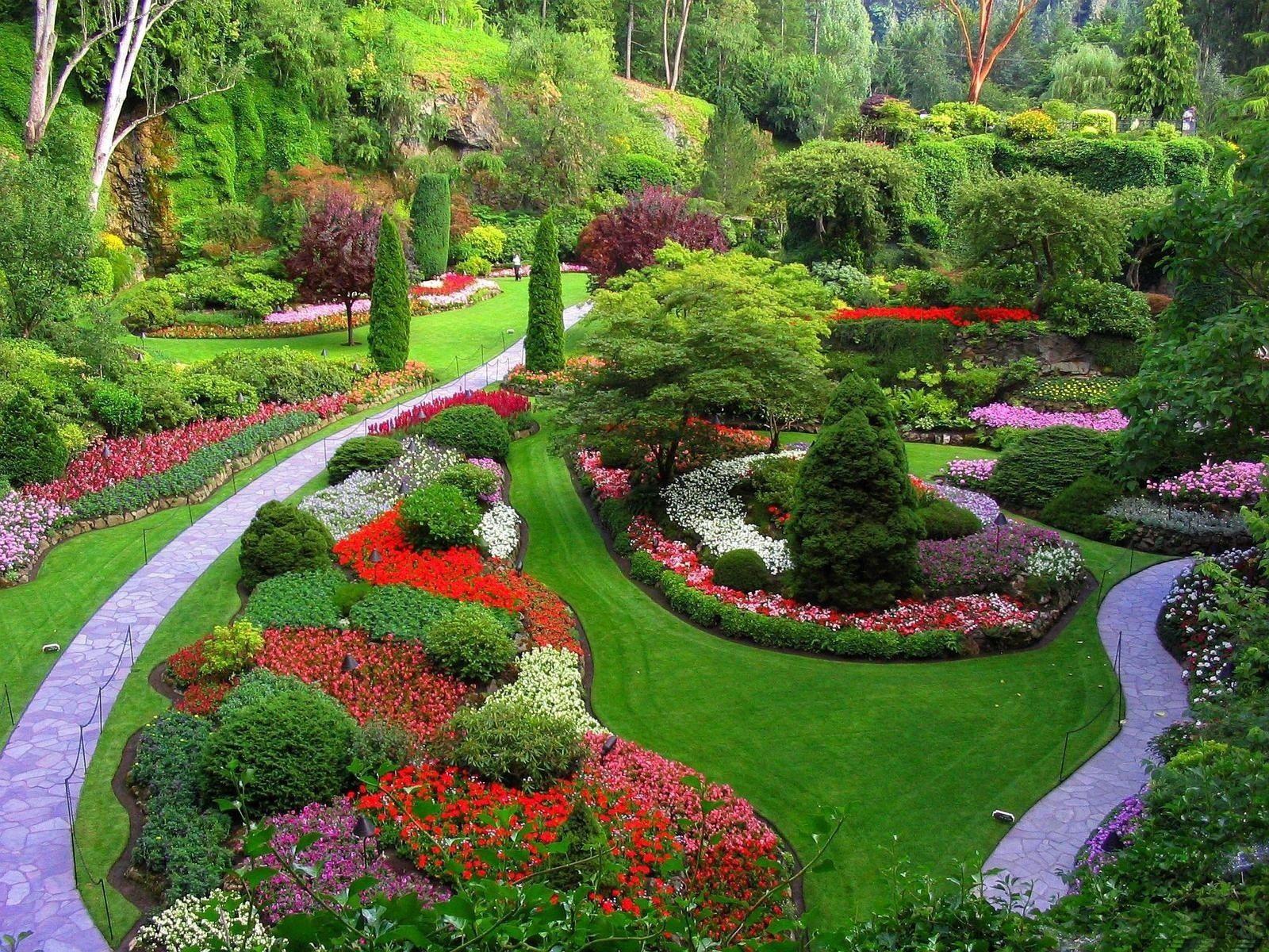 142402 скачать обои Газон, Сад, Природа, Цветы, Деревья, Трава, Ухоженный, Тропинки - заставки и картинки бесплатно