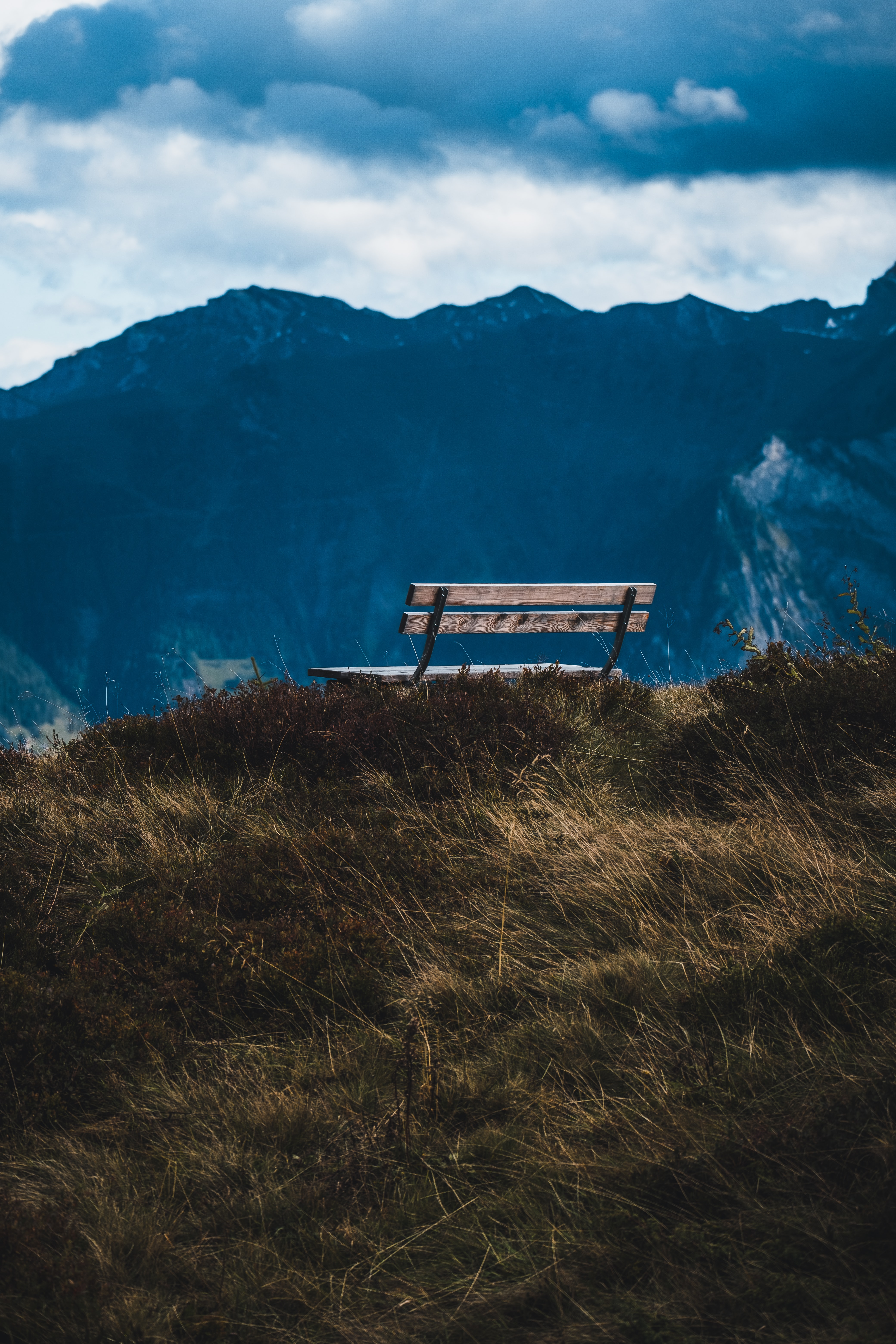 120751 Screensavers and Wallpapers Bench for phone. Download Landscape, Nature, Grass, Mountain, View, Bench pictures for free