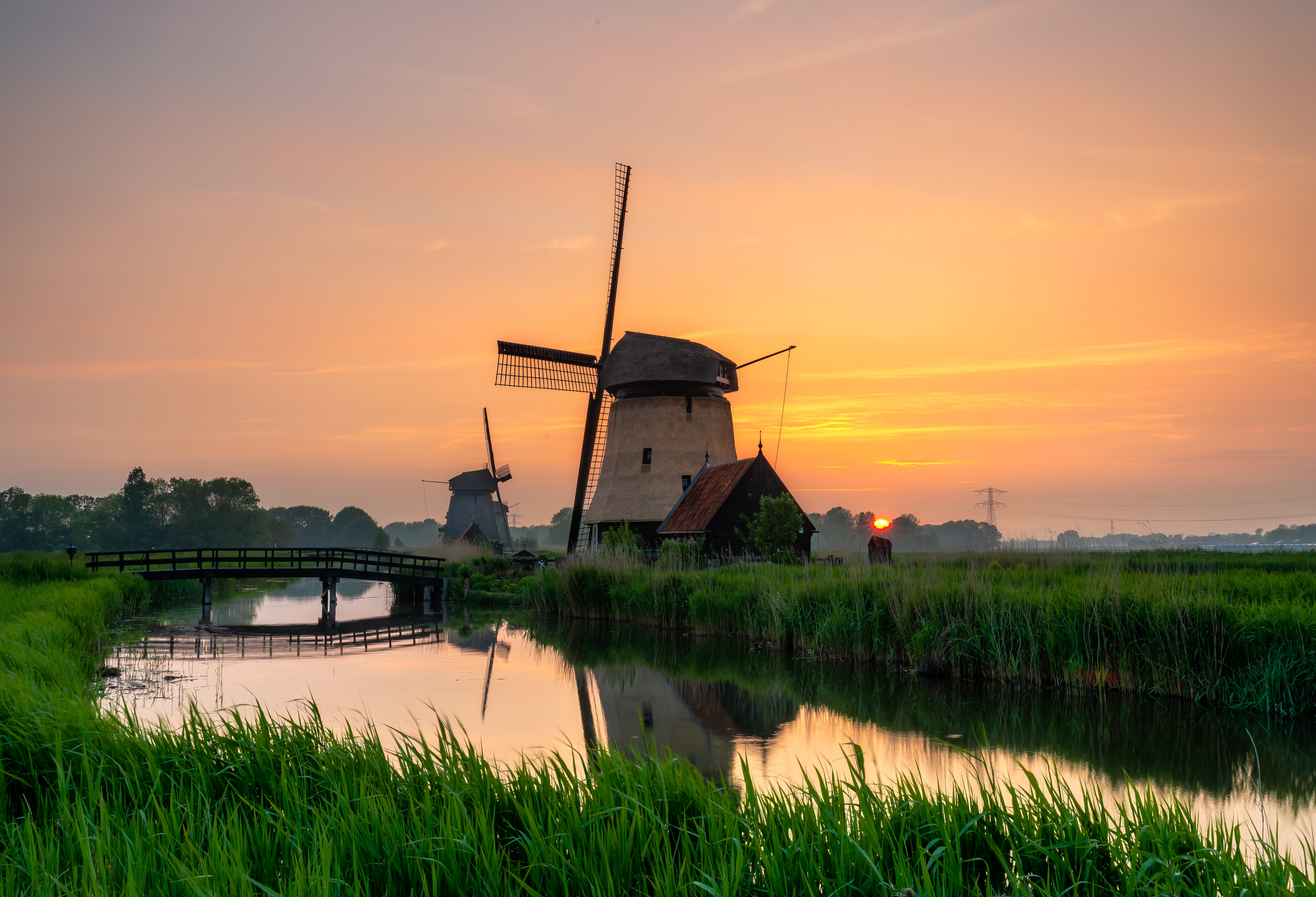 Download mobile wallpaper Nature, Rivers, Grass, Structure, Mill for free.