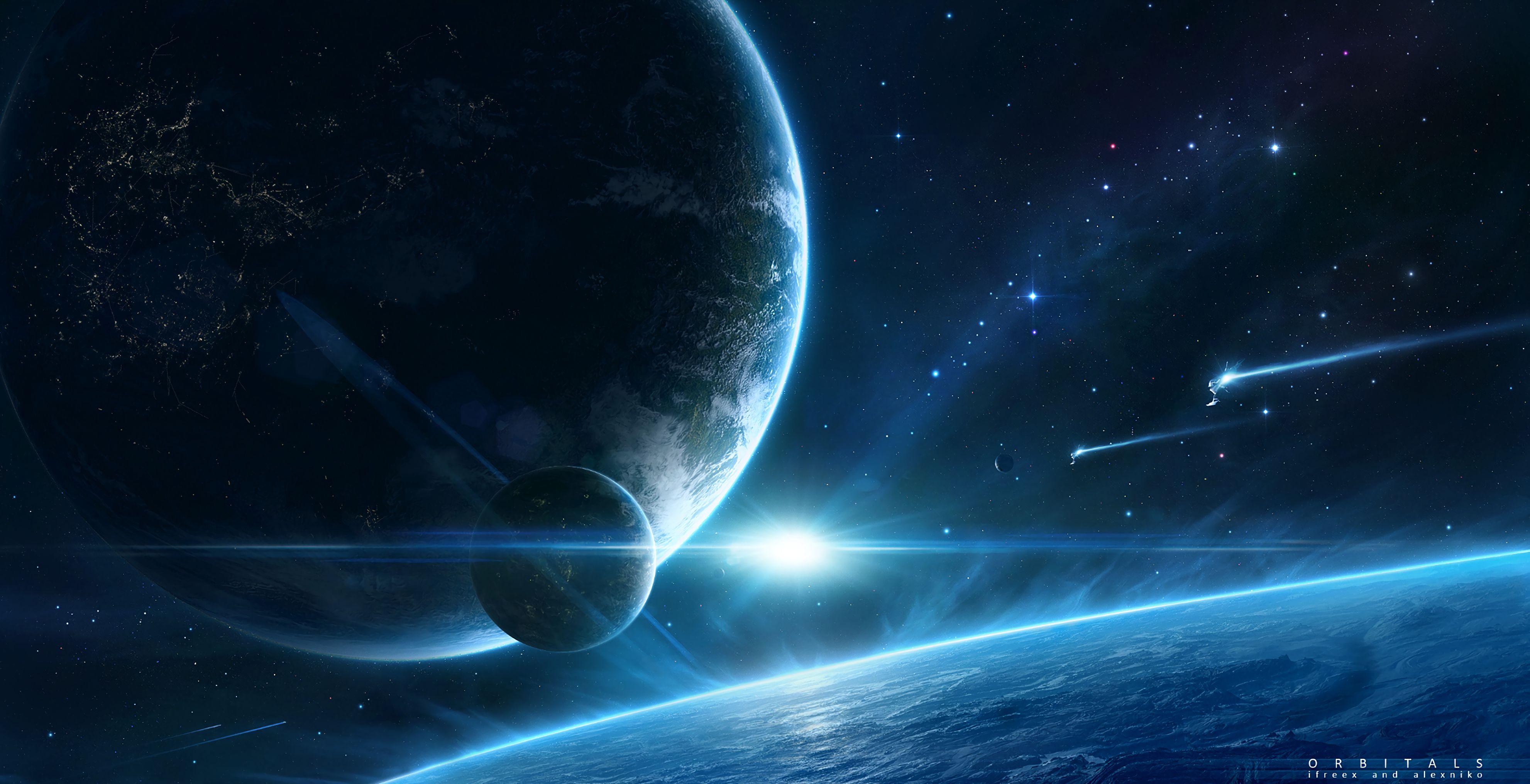 124919 скачать обои Планета, Космос, Спутник, Космическое Пространство - заставки и картинки бесплатно