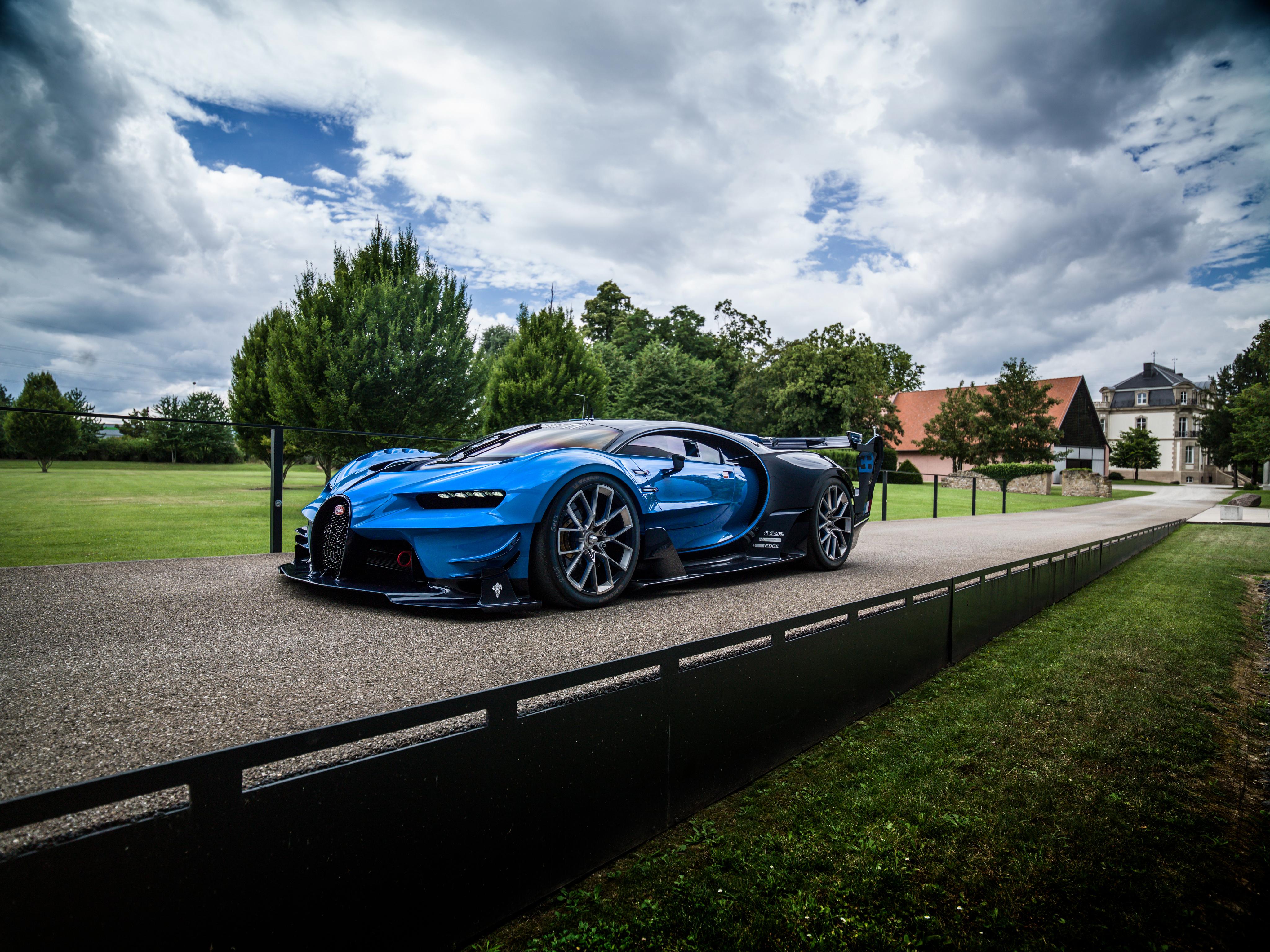 67265 скачать обои Тачки (Cars), Бугатти (Bugatti), Вид Сбоку, Vision, Синий, Gran Turismo - заставки и картинки бесплатно
