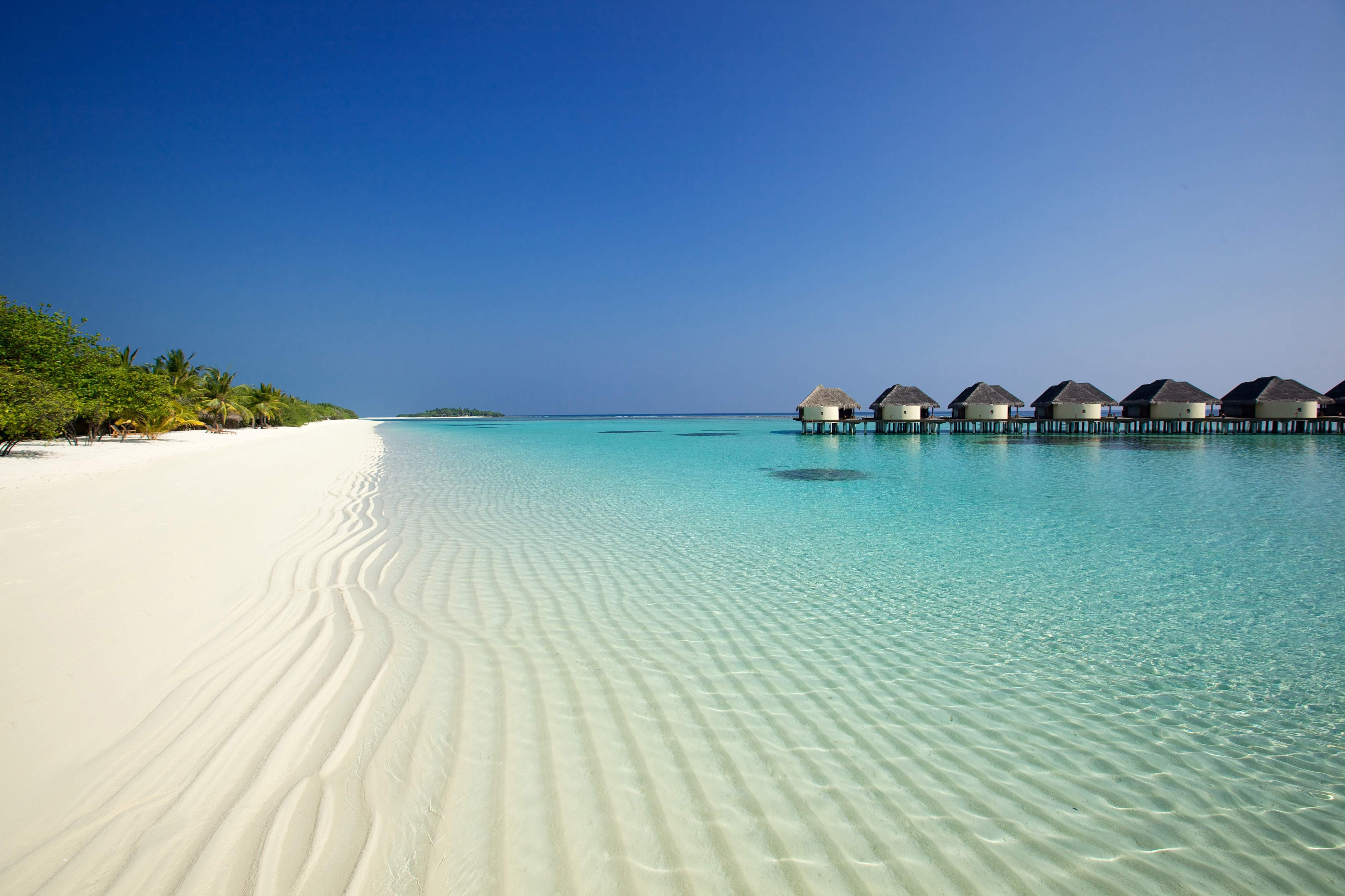 121153 Screensavers and Wallpapers Beach for phone. Download Nature, Beach, Sand, Palms, Ocean, Bungalow pictures for free