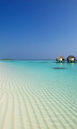 121153壁紙のダウンロード自然, ビーチ, 海洋, 大洋, サンド, バンガロー, パームス-スクリーンセーバーと写真を無料で