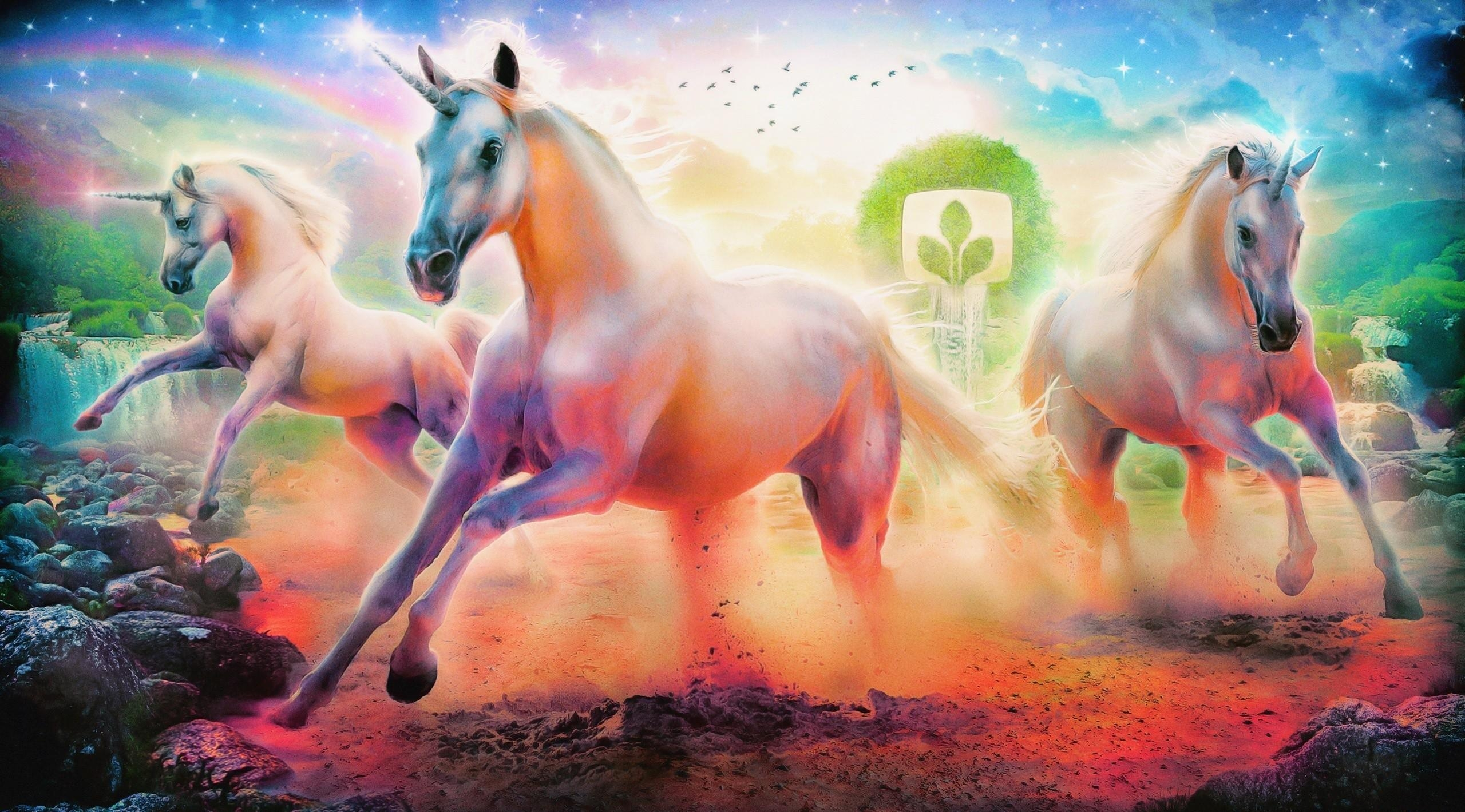 144534 download wallpaper Horses, Rainbow, Fantasy, Stones, Unicorns, Wood, Tree, Emblem screensavers and pictures for free