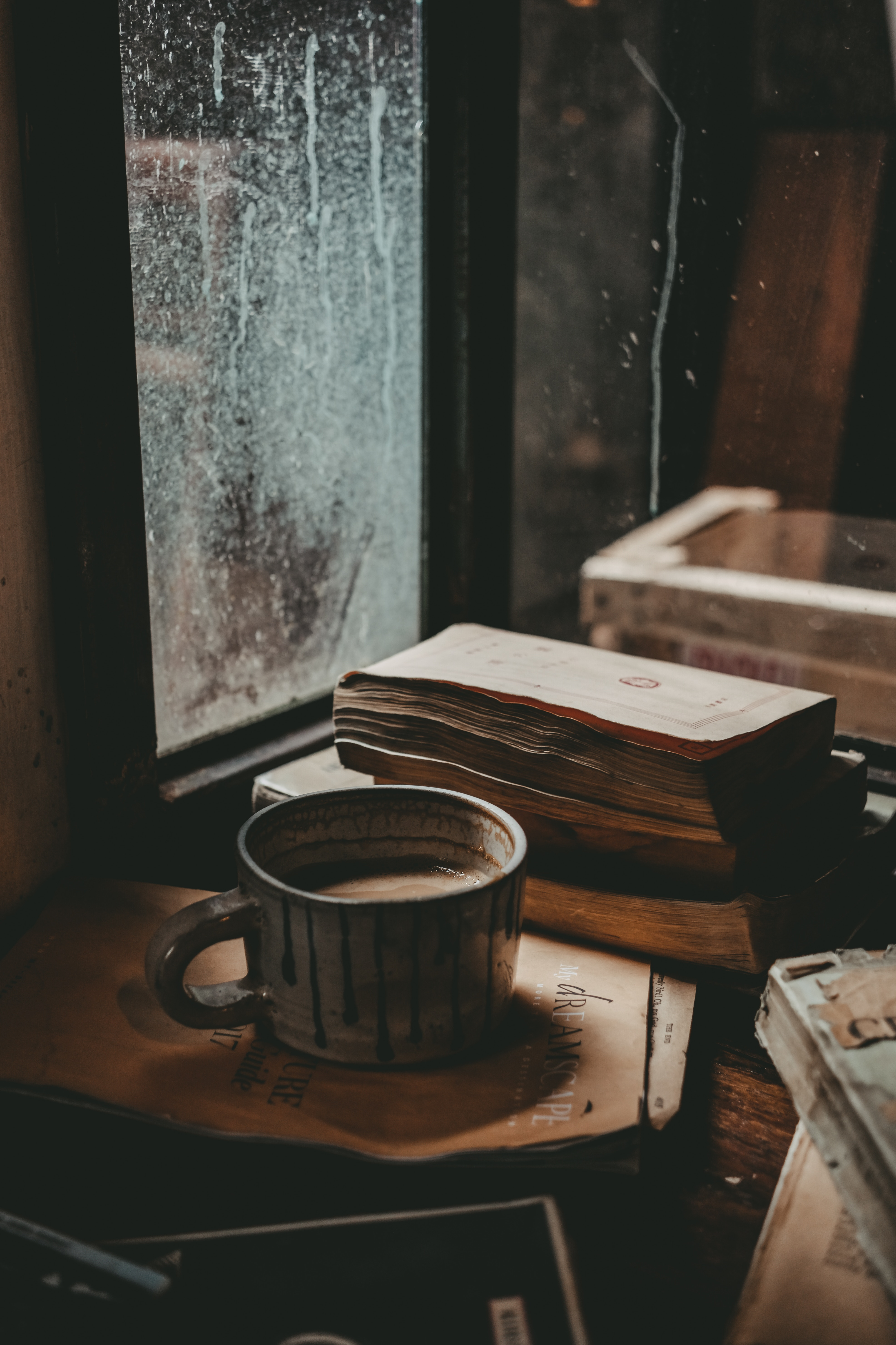 118820 download wallpaper Food, Cup, Mug, Books, Mood, Window, Autumn screensavers and pictures for free
