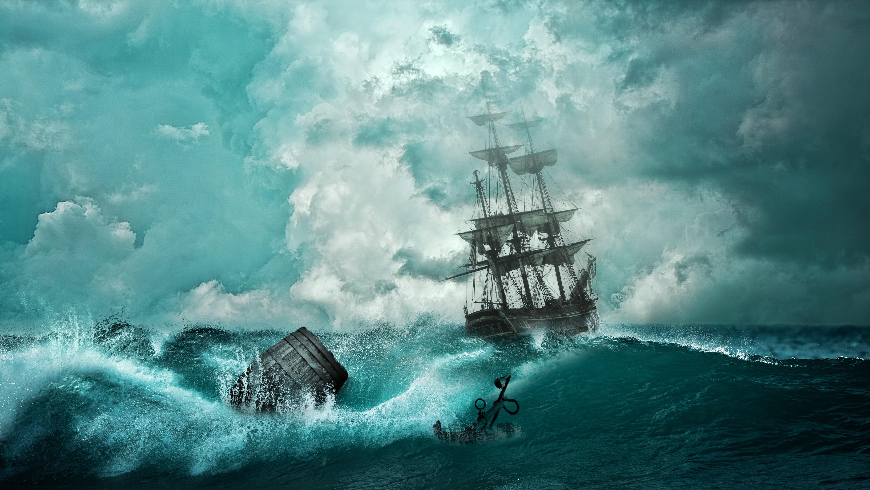 136463 скачать обои Волны, Корабль, Арт, Фотошоп, Шторм, Якорь - заставки и картинки бесплатно