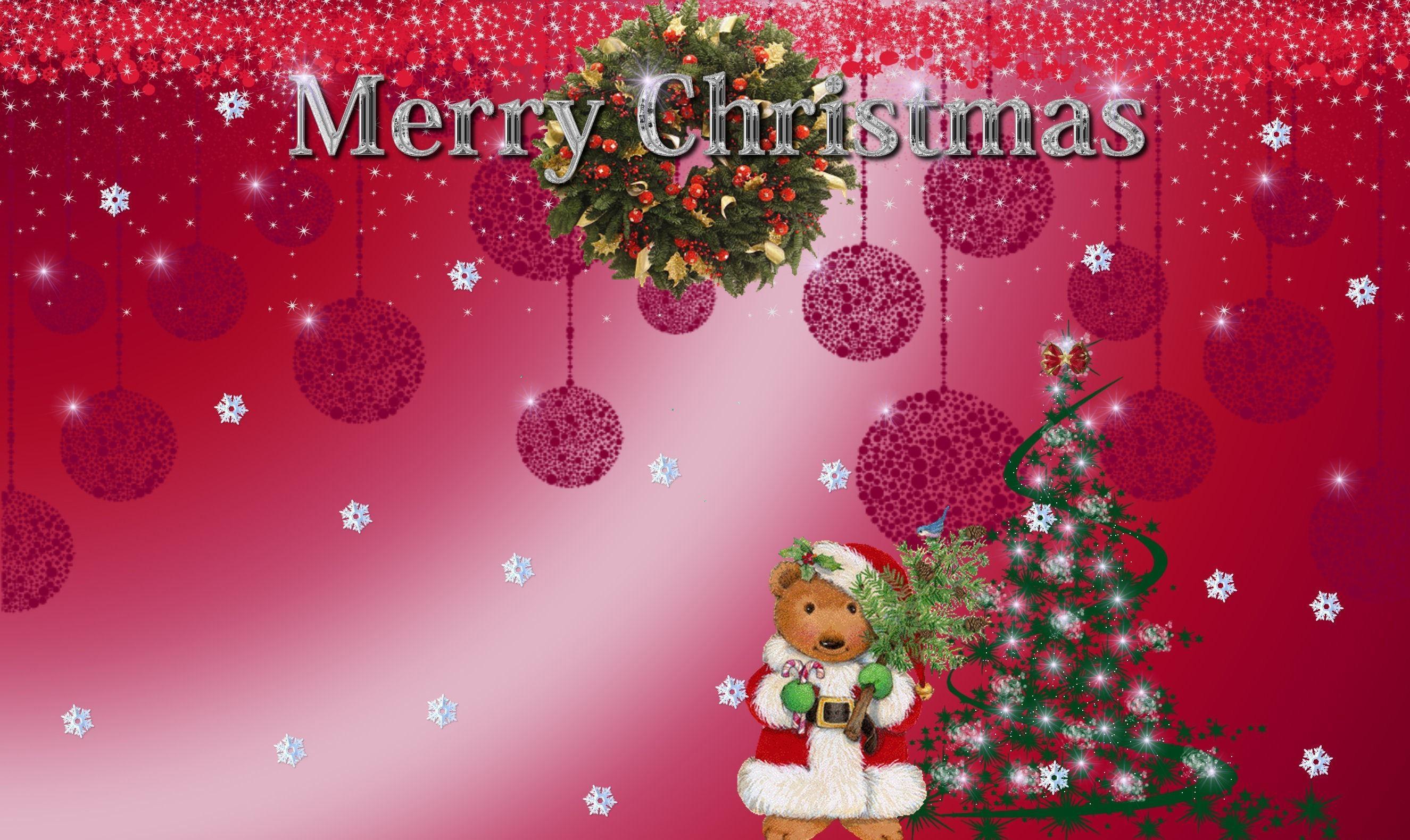 137293 скачать обои Праздники, Снежинки, Рождество, Праздник, Надпись, Елка, Мишка, Венок - заставки и картинки бесплатно