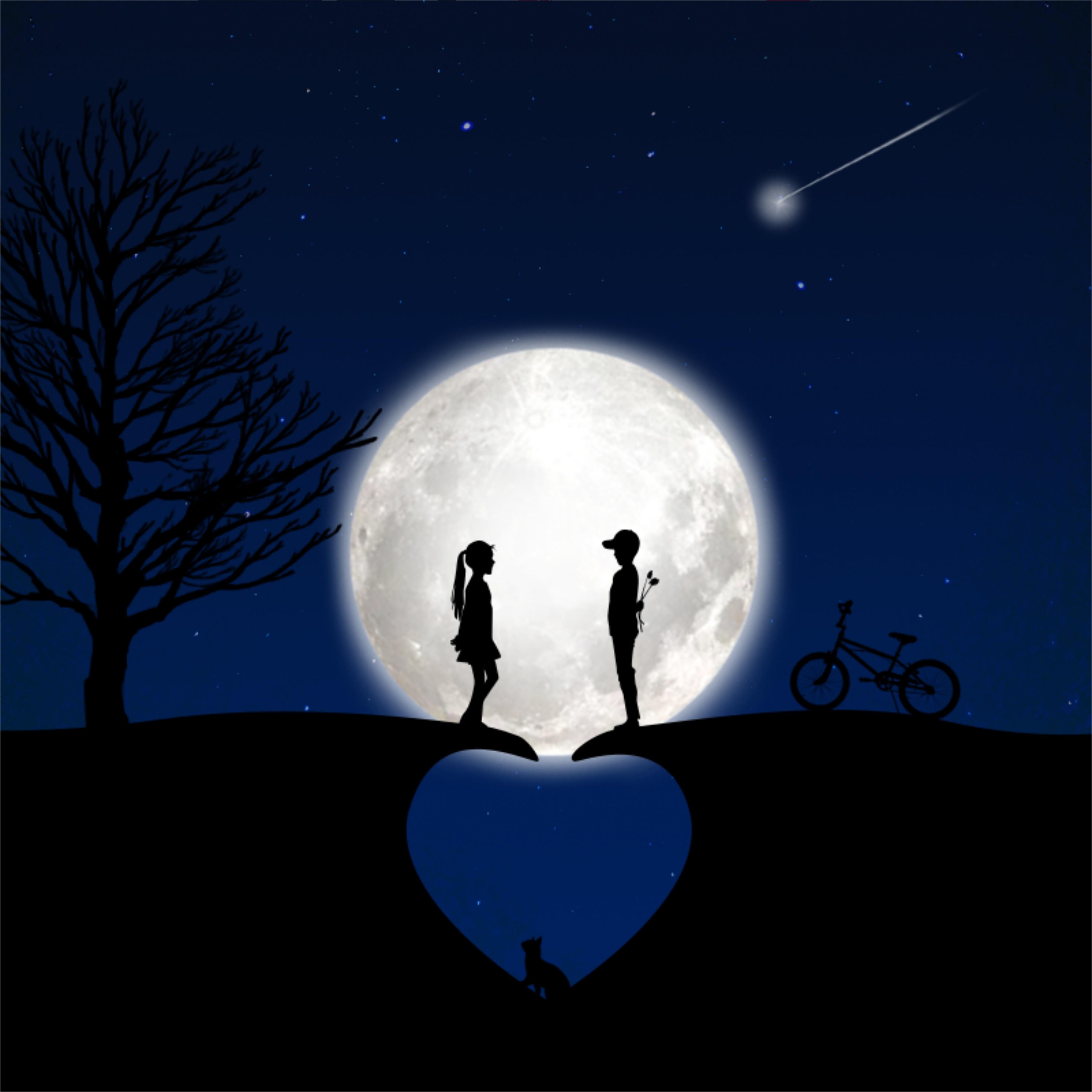 59256 скачать обои Луна, Дети, Романтика, Любовь, Силуэты - заставки и картинки бесплатно
